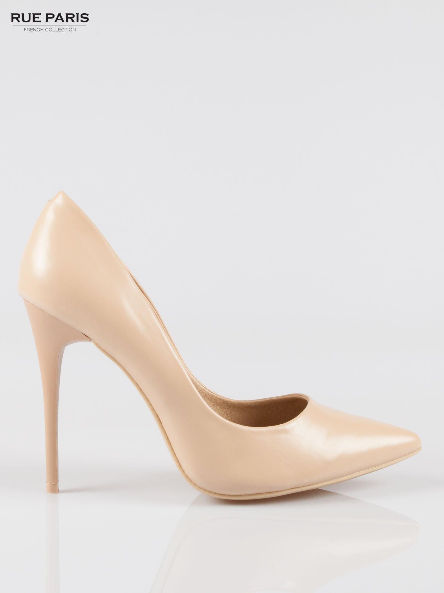 Beżowe szpilki high heels z noskiem w szpic                                  zdj.                                  1