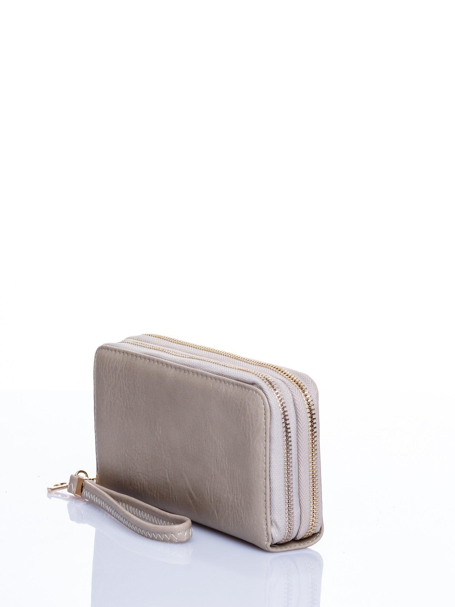 Beżowy matowy portfel z rączką                                  zdj.                                  2