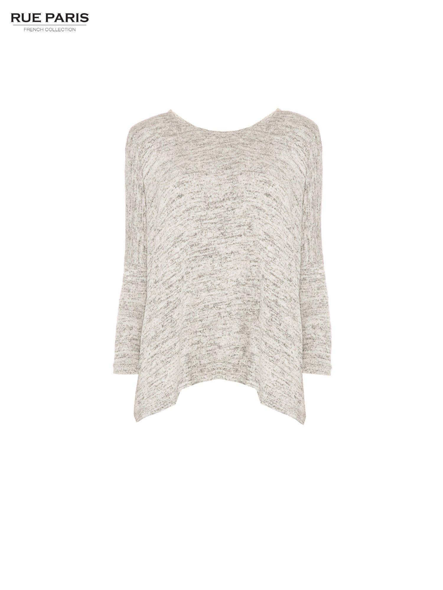 Beżowy melanżowy sweter oversize o obniżonej linii ramion                                  zdj.                                  5
