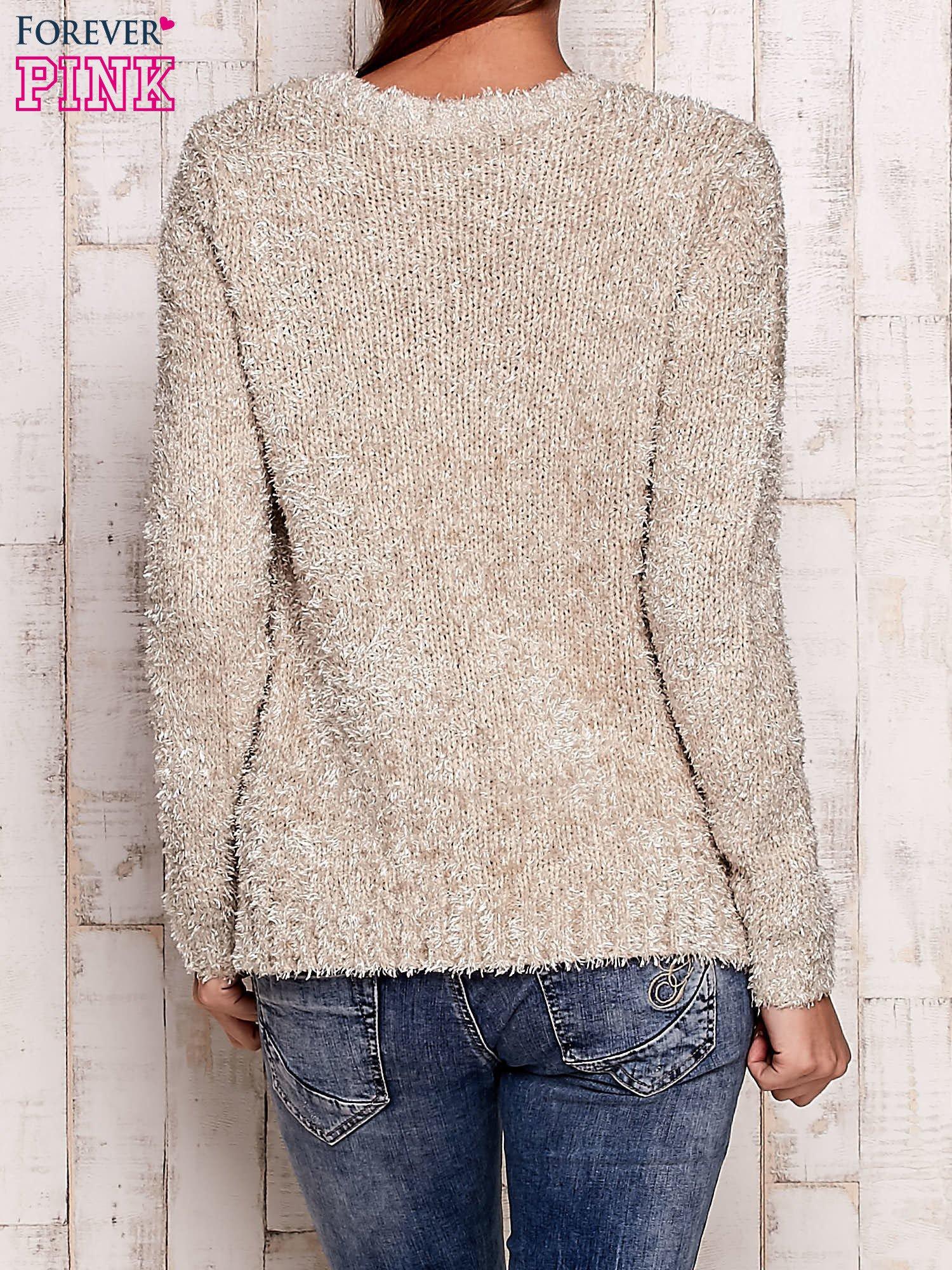 Beżowy otwarty włochaty sweter                                   zdj.                                  4