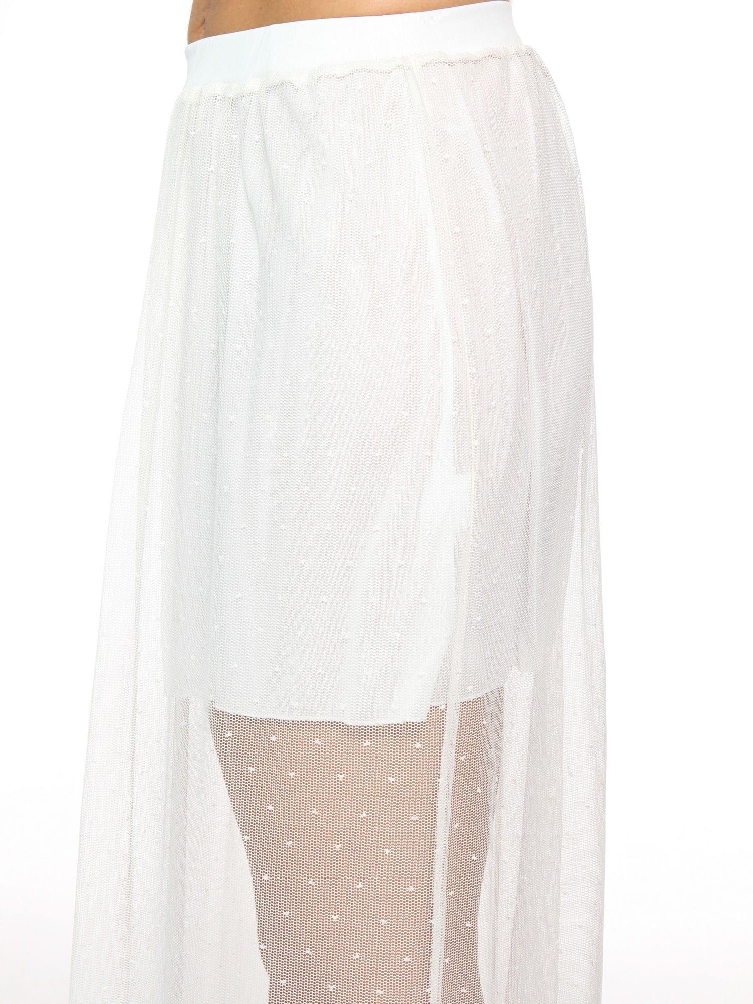 Biała ażurowa spódnica z zielonym pasem                                  zdj.                                  7