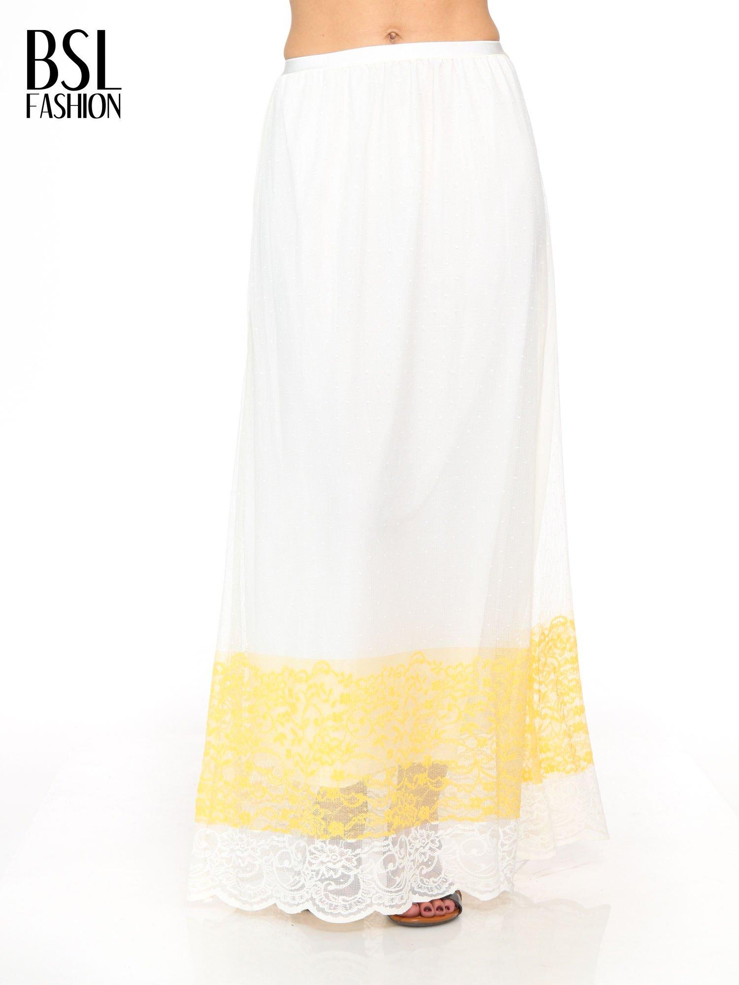 Biała ażurowa spódnica z żółtym pasem                                  zdj.                                  1