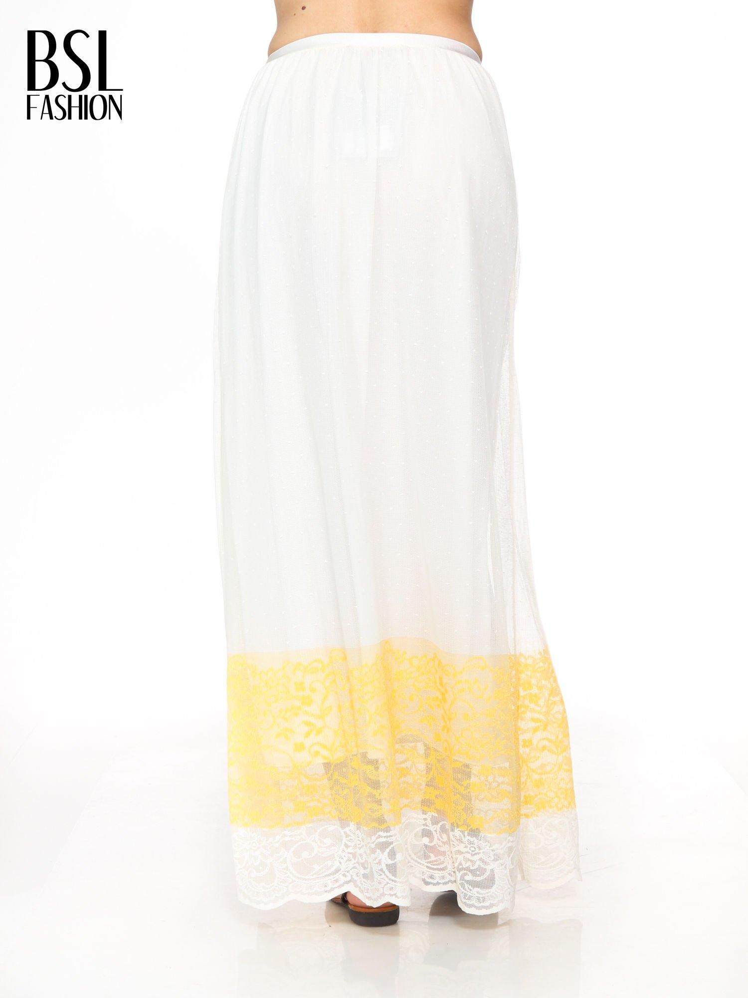 Biała ażurowa spódnica z żółtym pasem                                  zdj.                                  4