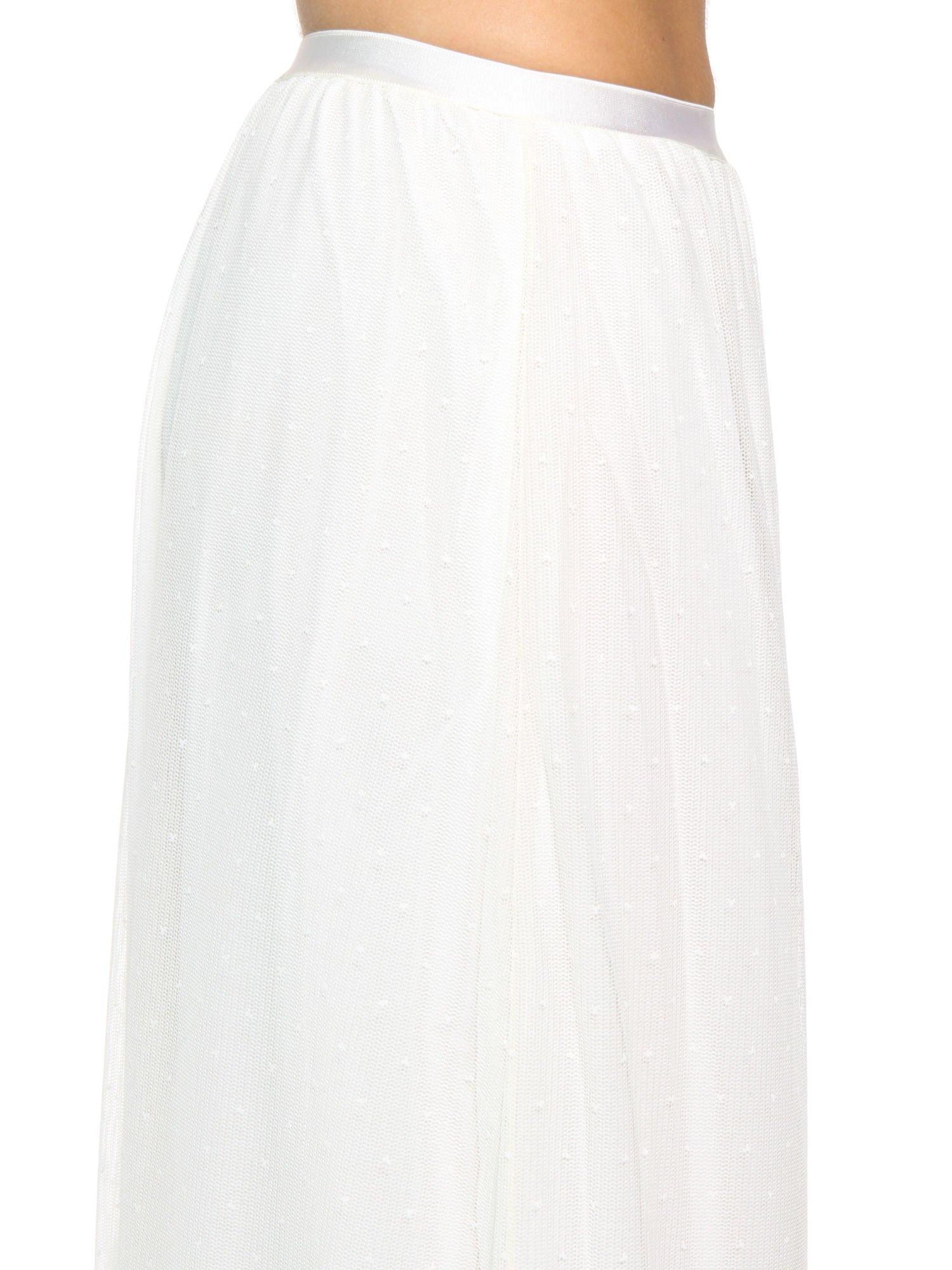 Biała ażurowa spódnica z żółtym pasem                                  zdj.                                  7