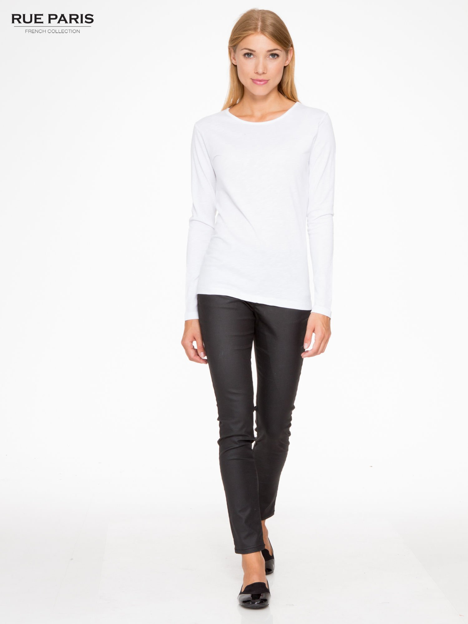 Biała basicowa bluzka z długim rękawem                                  zdj.                                  2