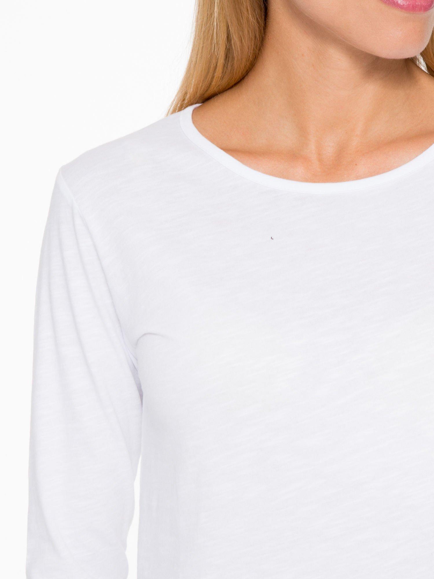 Biała basicowa bluzka z długim rękawem                                  zdj.                                  6