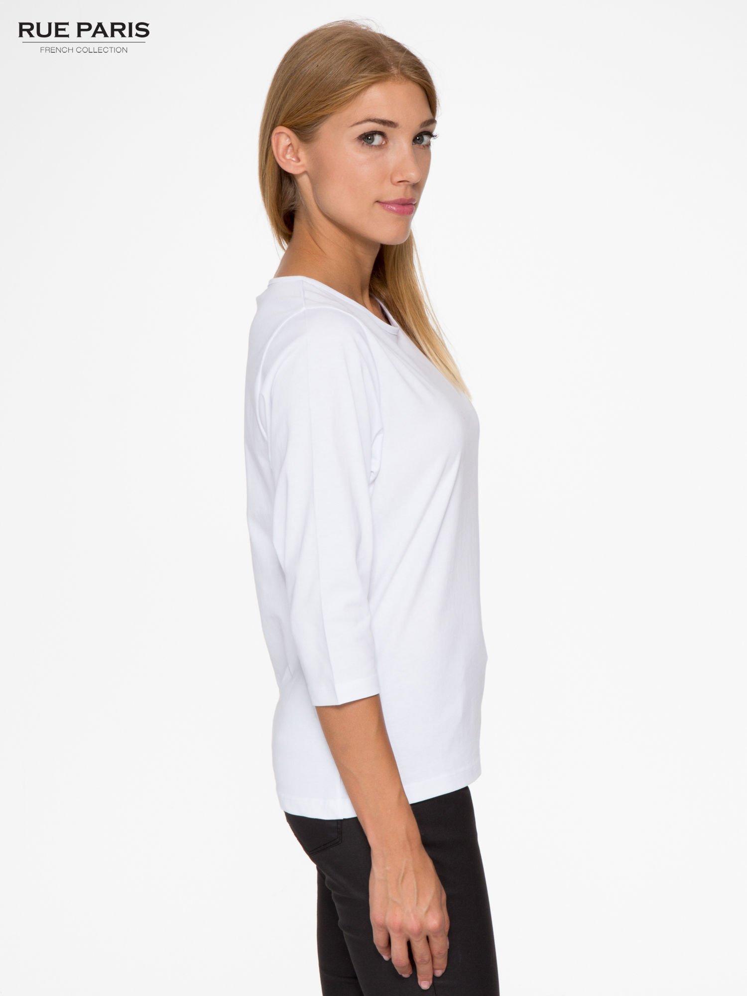 Biała basicowa bluzka z rękawem 3/4                                  zdj.                                  3