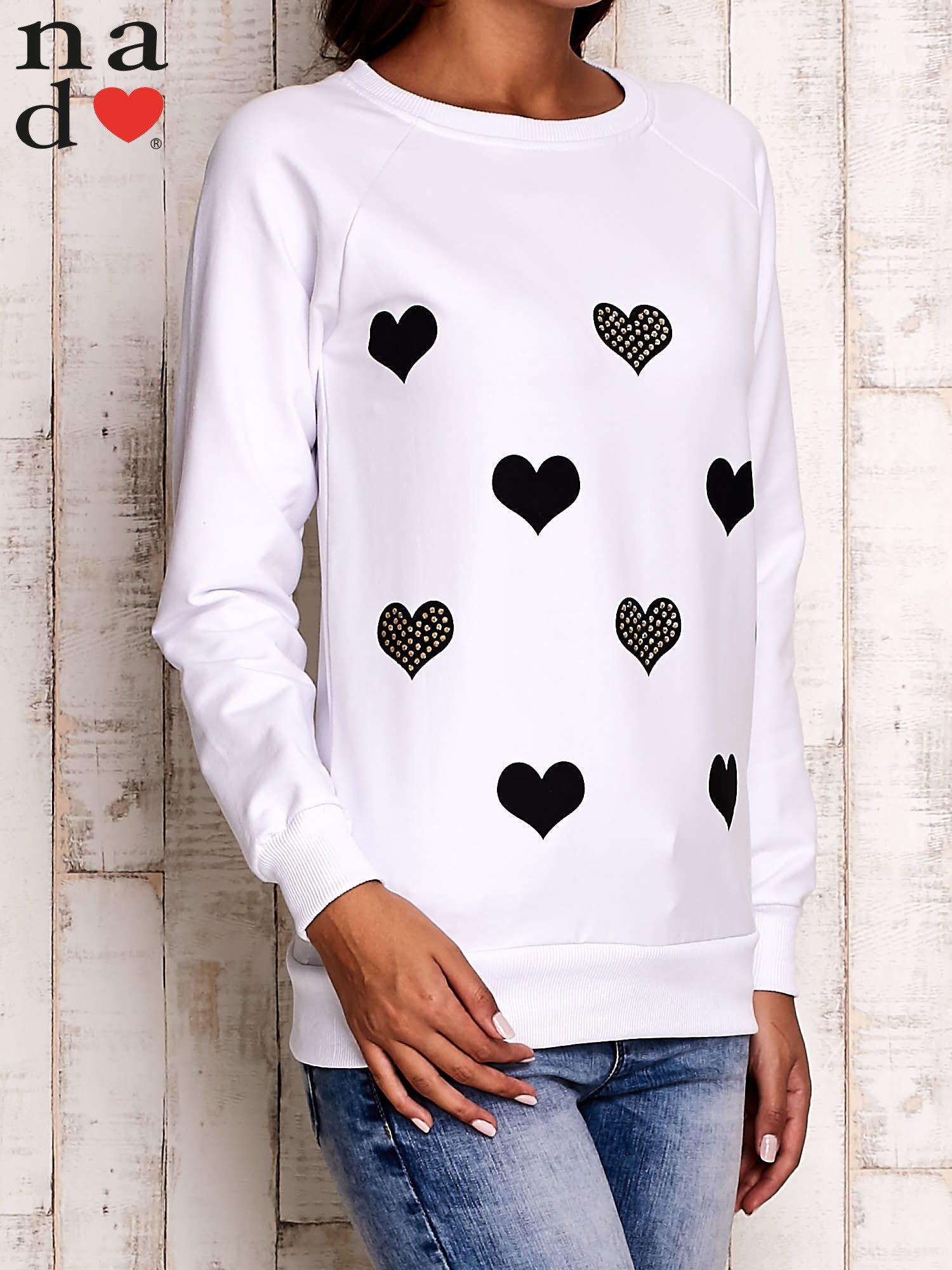 Biała bluza z serduszkami                                  zdj.                                  3