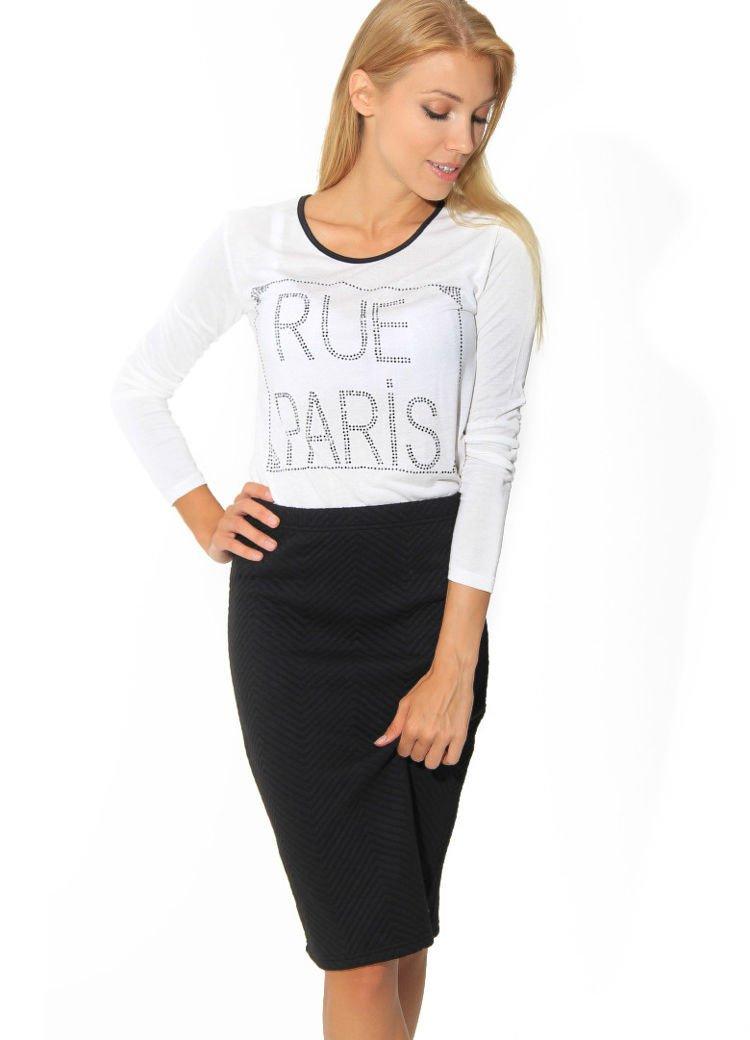 72e8ea53a3e008 Biała bluzka RUE PARIS z cyrkoniami - Bluzka longsleeves - sklep ...