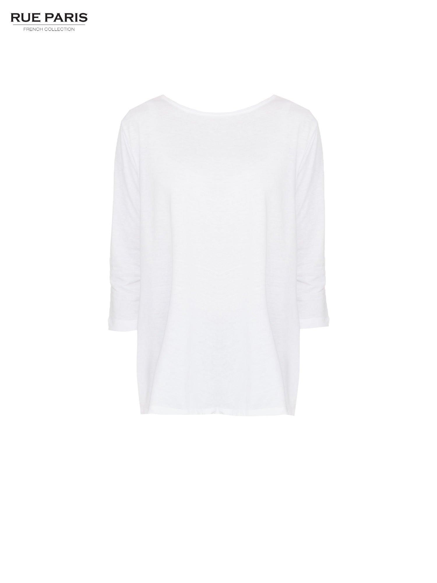 Biała bluzka o rozkloszowanym kroju z rękawem 3/4                                  zdj.                                  5