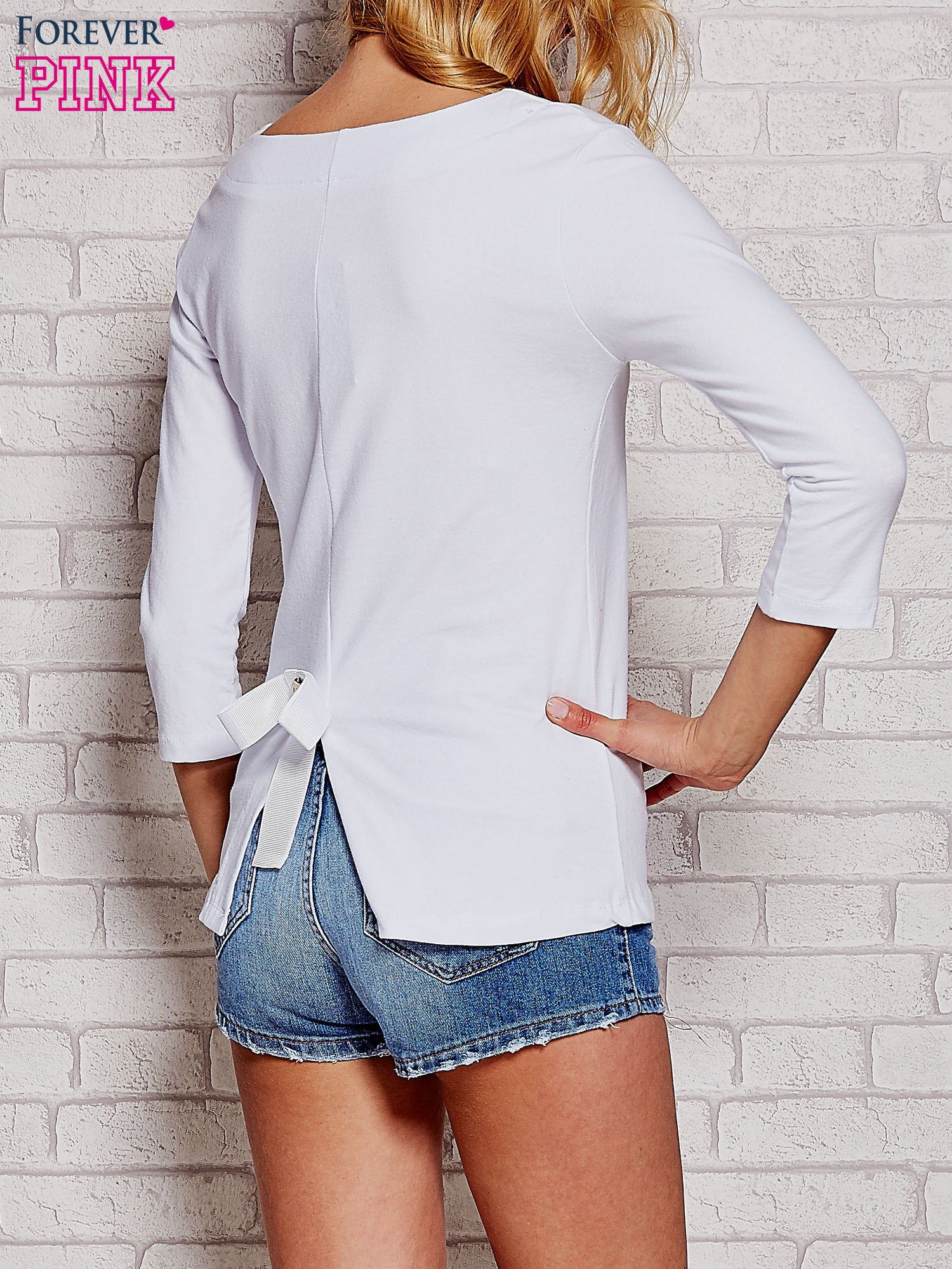 Biała bluzka z kokardką z tyłu                                  zdj.                                  4