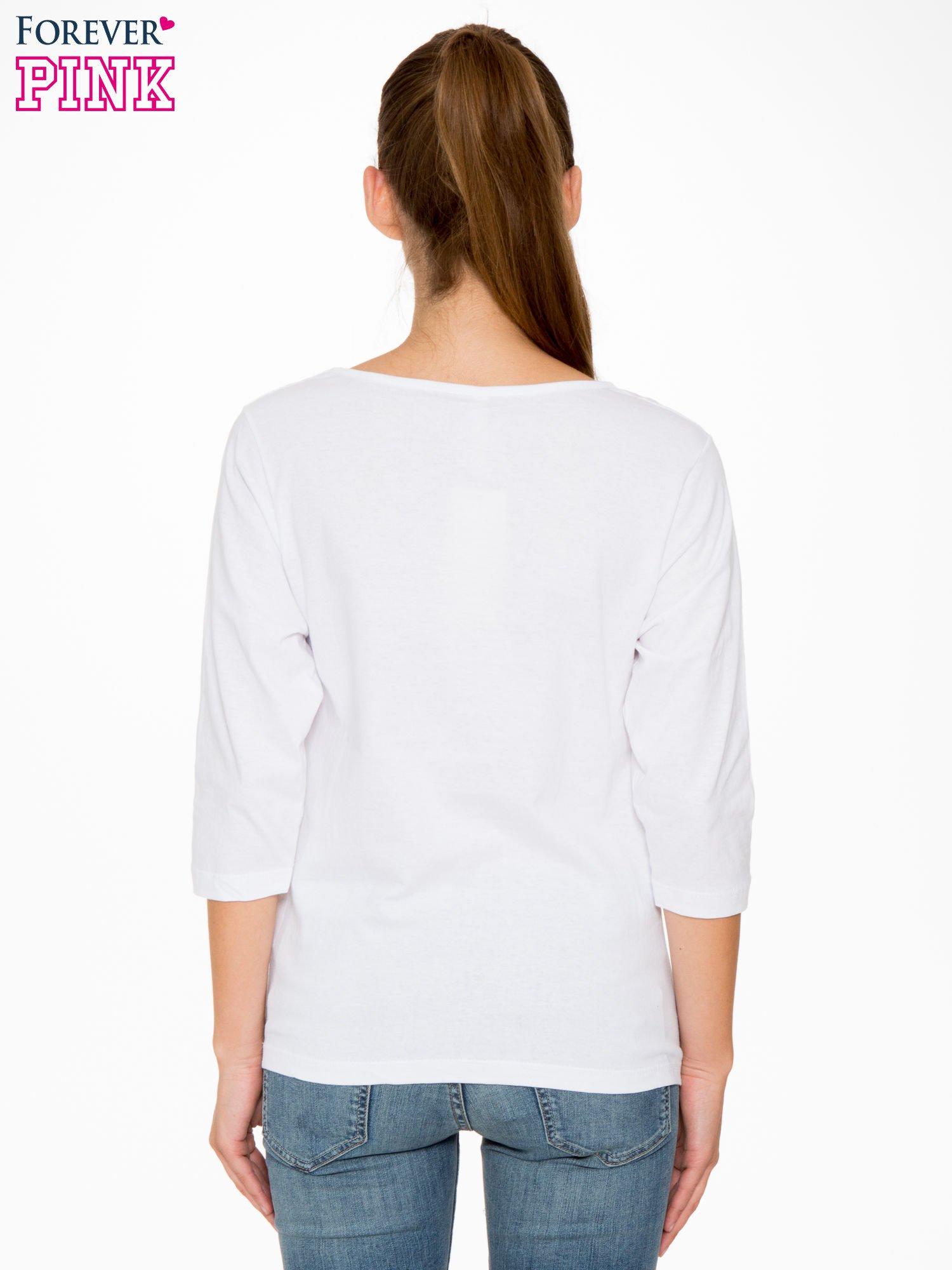 Biała bluzka z motywem Paryża                                  zdj.                                  4