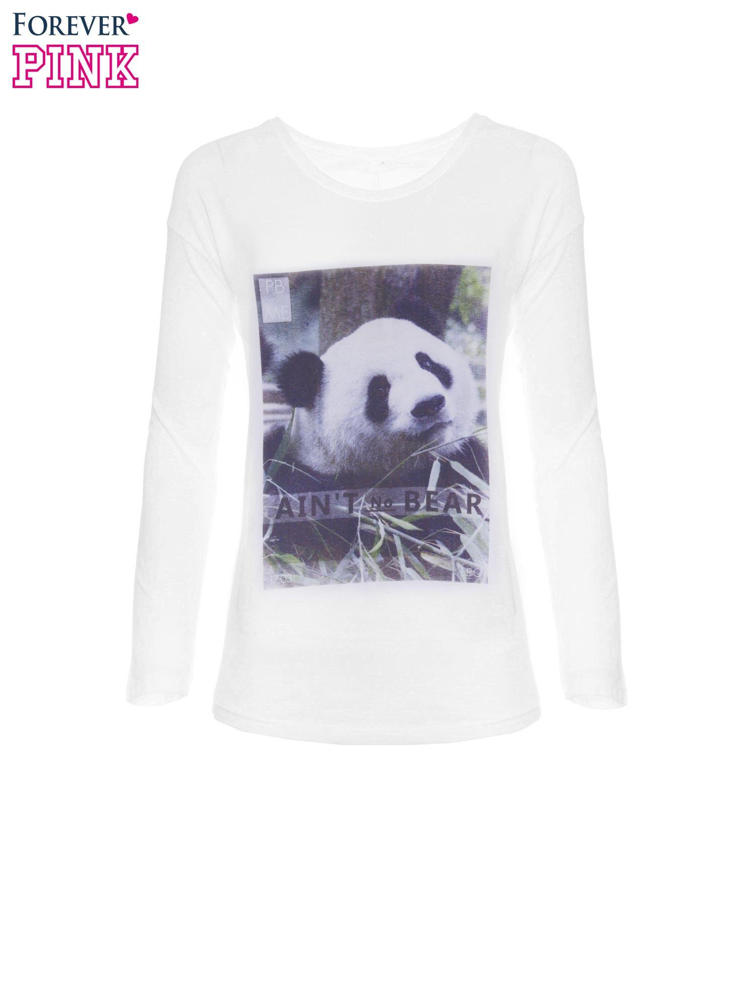 Biała bluzka z nadrukiem pandy                                  zdj.                                  5