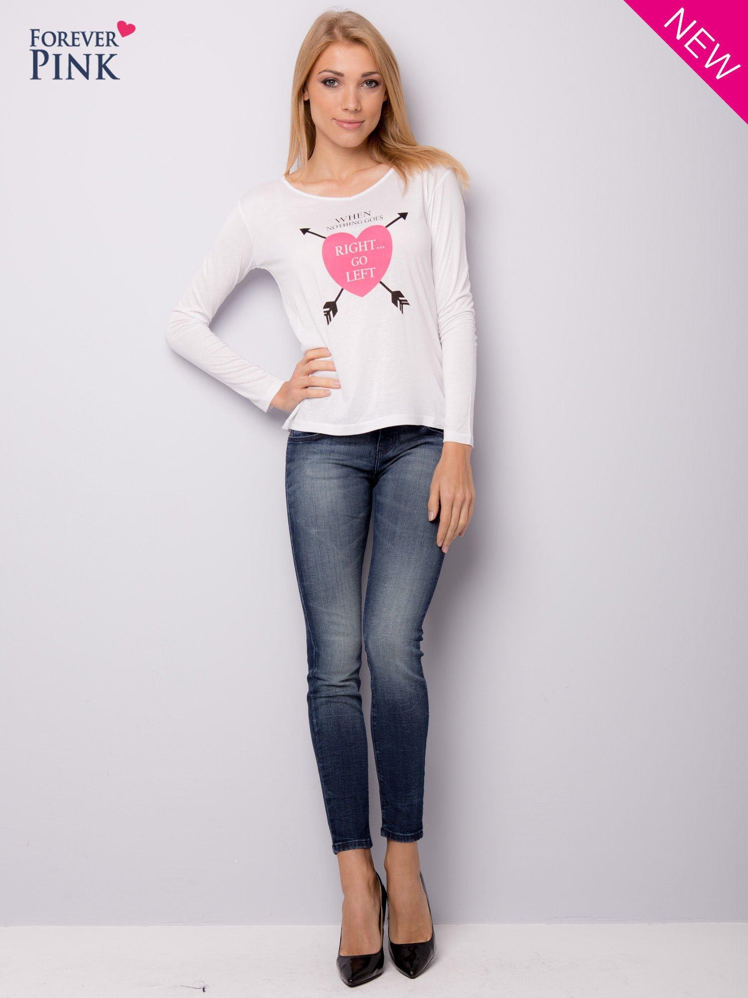 Biała bluzka z nadrukiem serca                                  zdj.                                  8