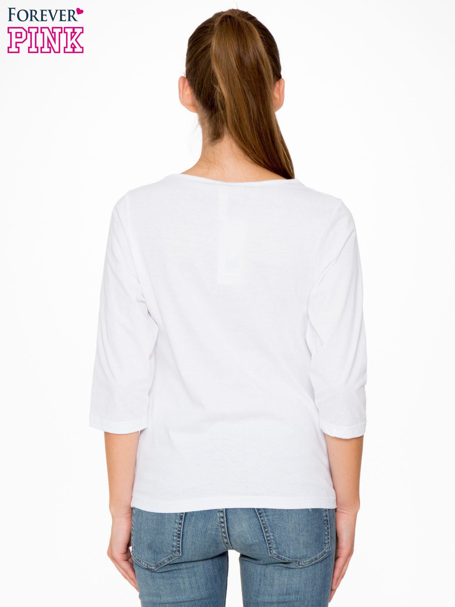 Biała bluzka z napisem FOLLOW YOUR DREAMS                                  zdj.                                  4