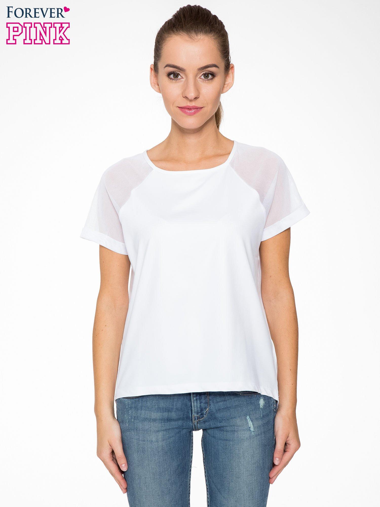 Biała bluzka z transparentnymi rękawkami                                  zdj.                                  1