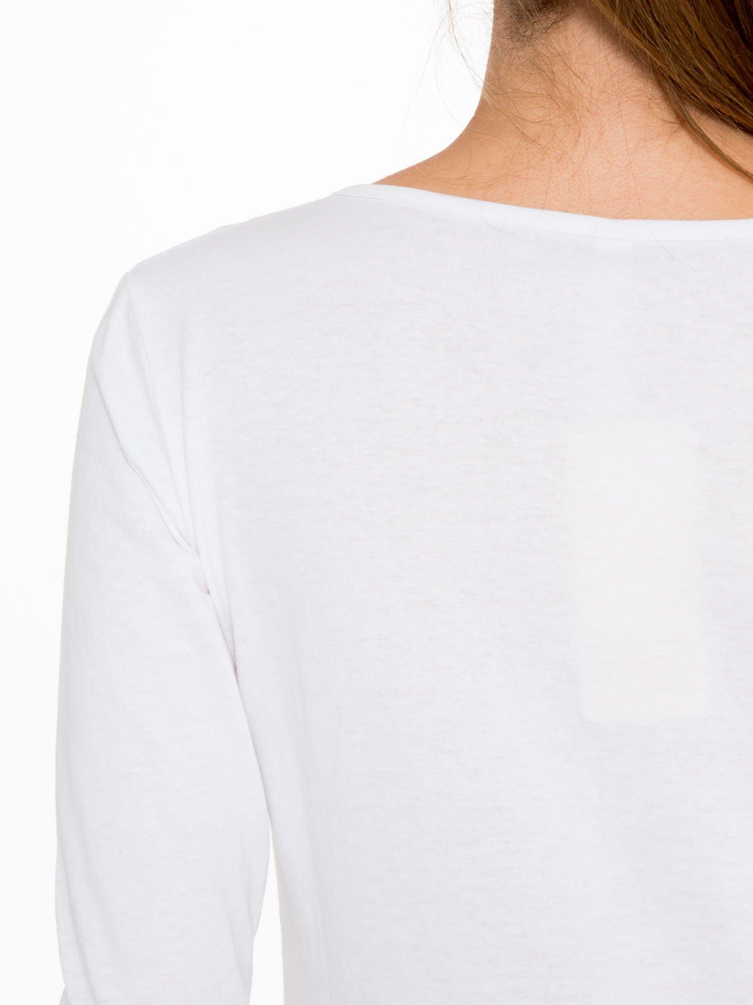 Biała bluzka ze złotym brokatowym napisem ROCK AND ROLL                                  zdj.                                  9