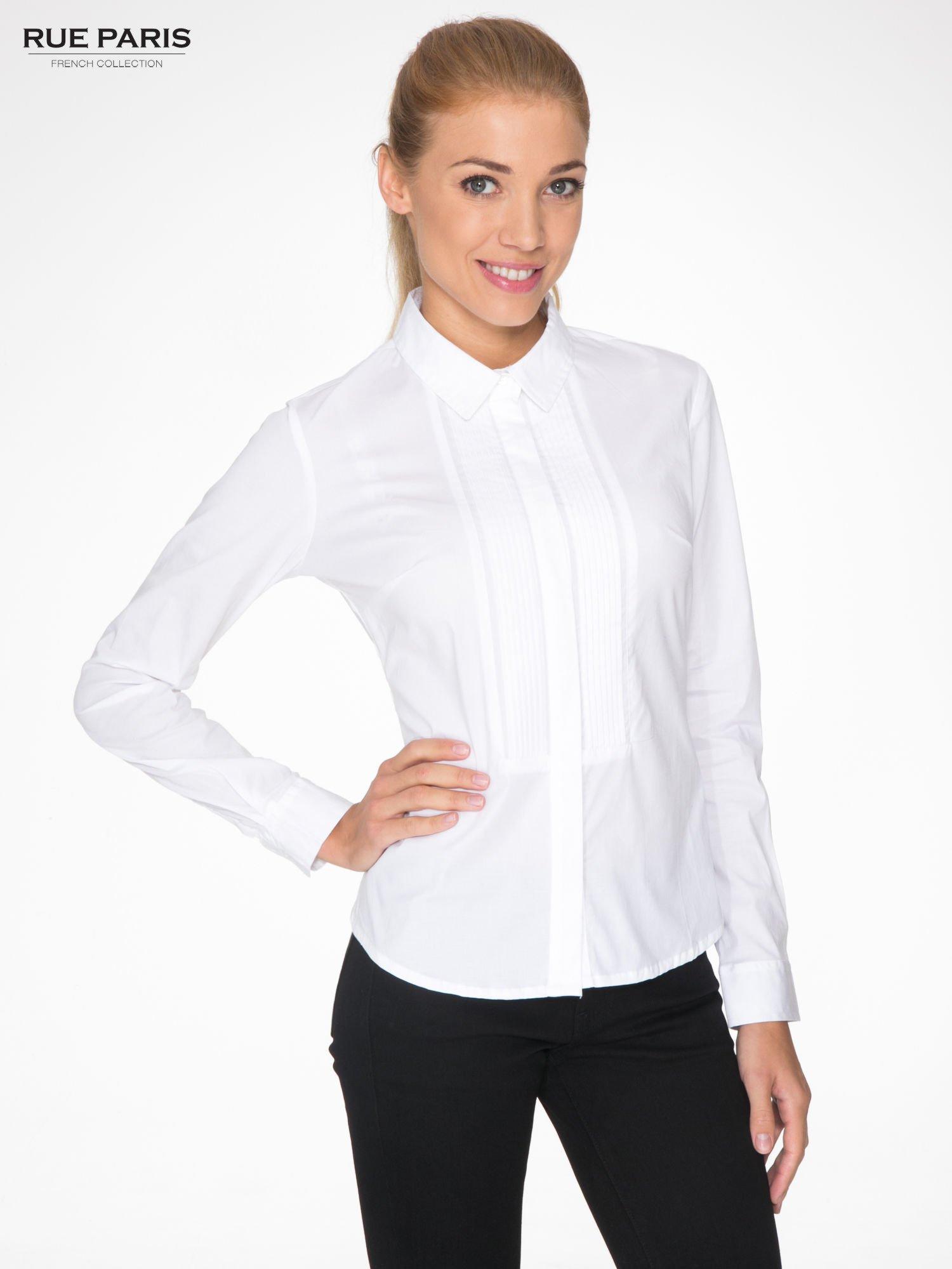 Niesamowite Biała elegancka koszula damska z marszczonym przodem - Koszula NF33