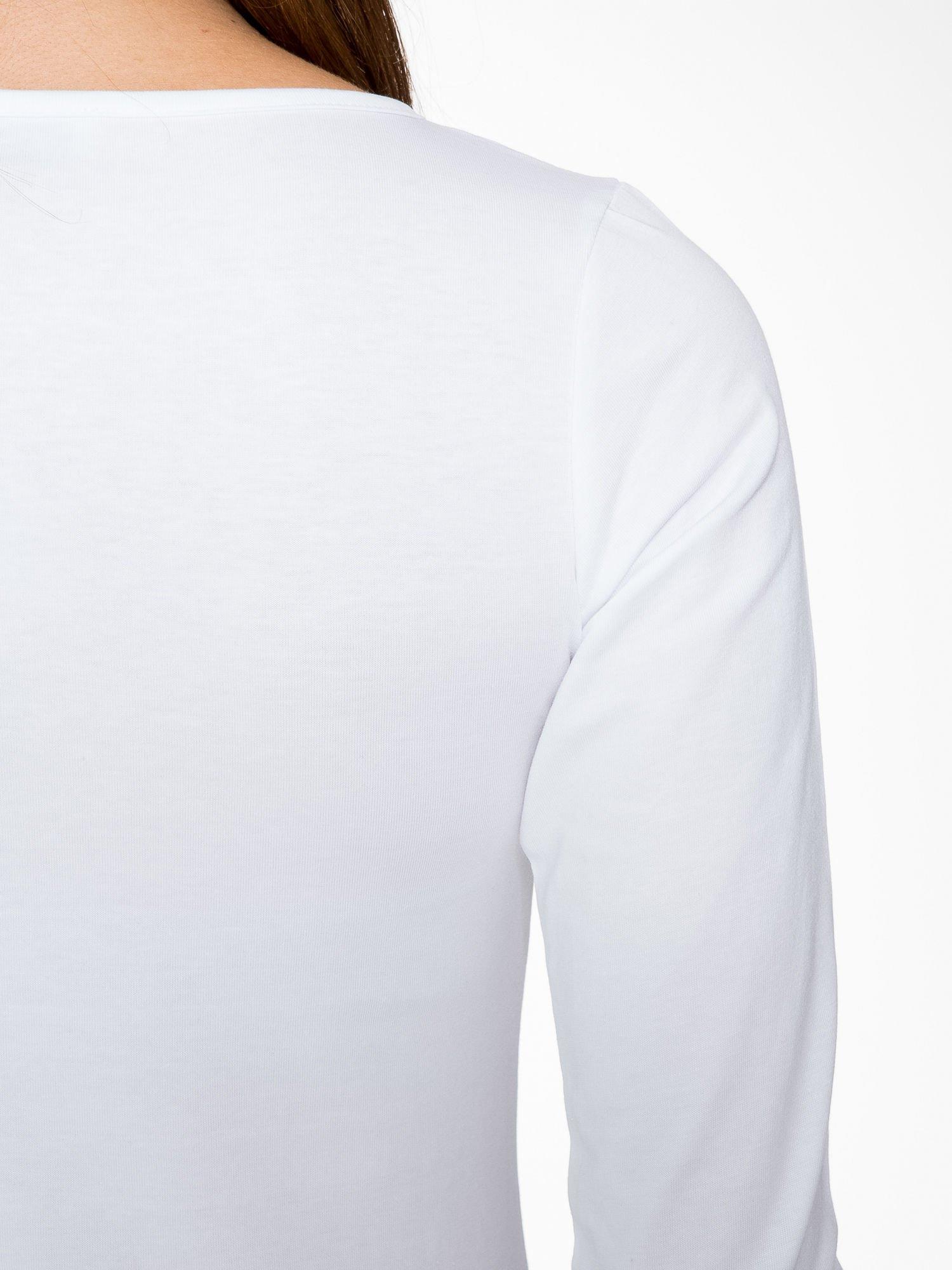 Biała gładka bluza z bawełny z rękawami 3/4                                  zdj.                                  9
