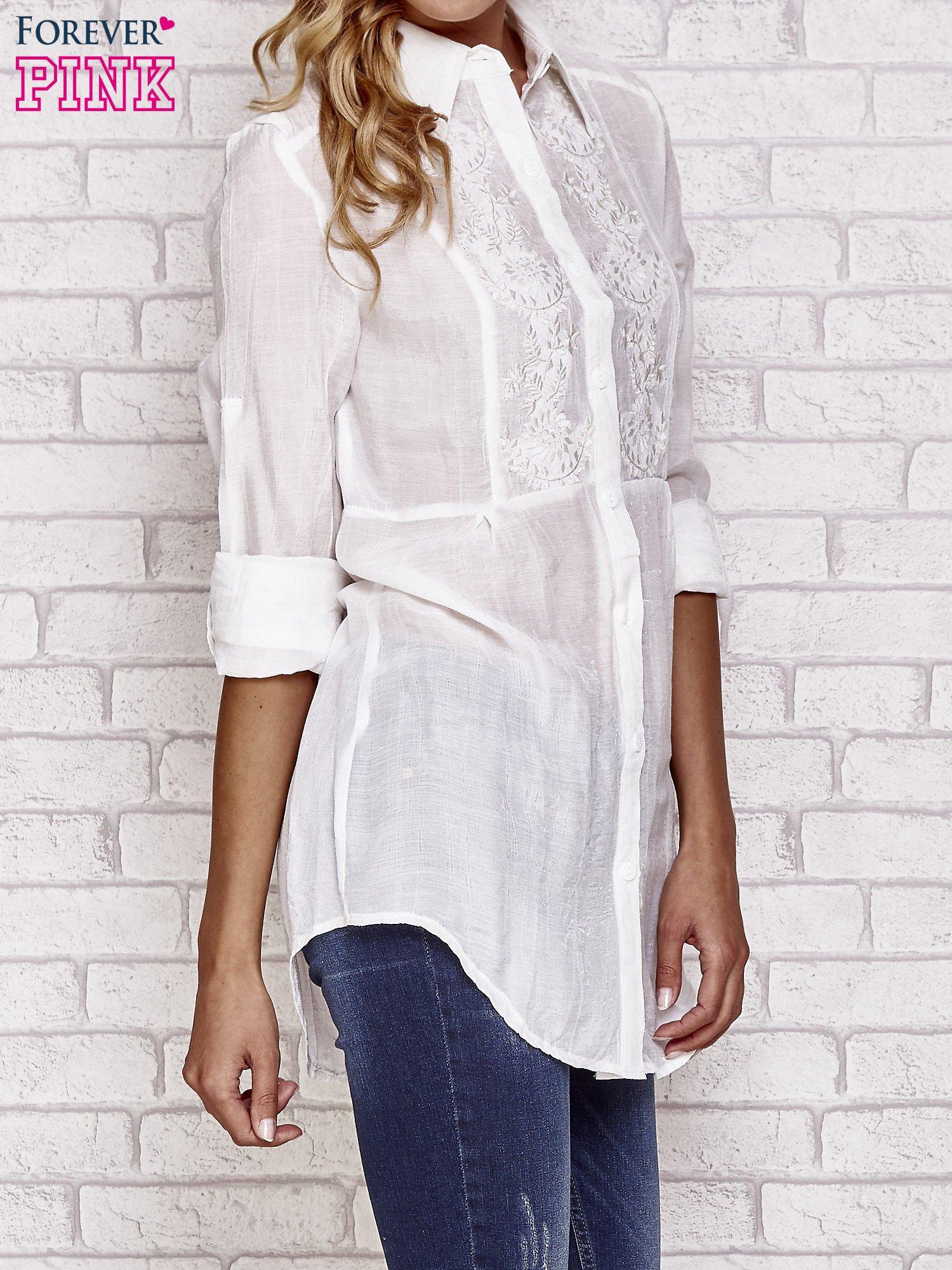 Biała koszula hippie z haftem                                  zdj.                                  3