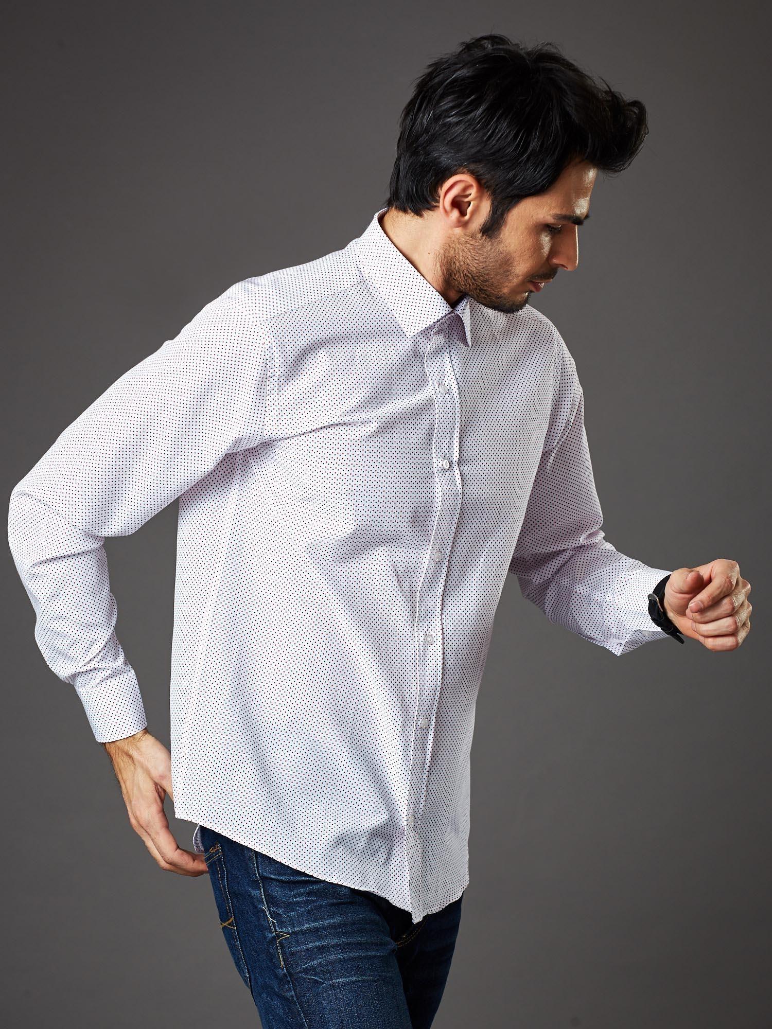 Biała koszula męska w granatowo czerwone kropki regular fit  4ZuXs