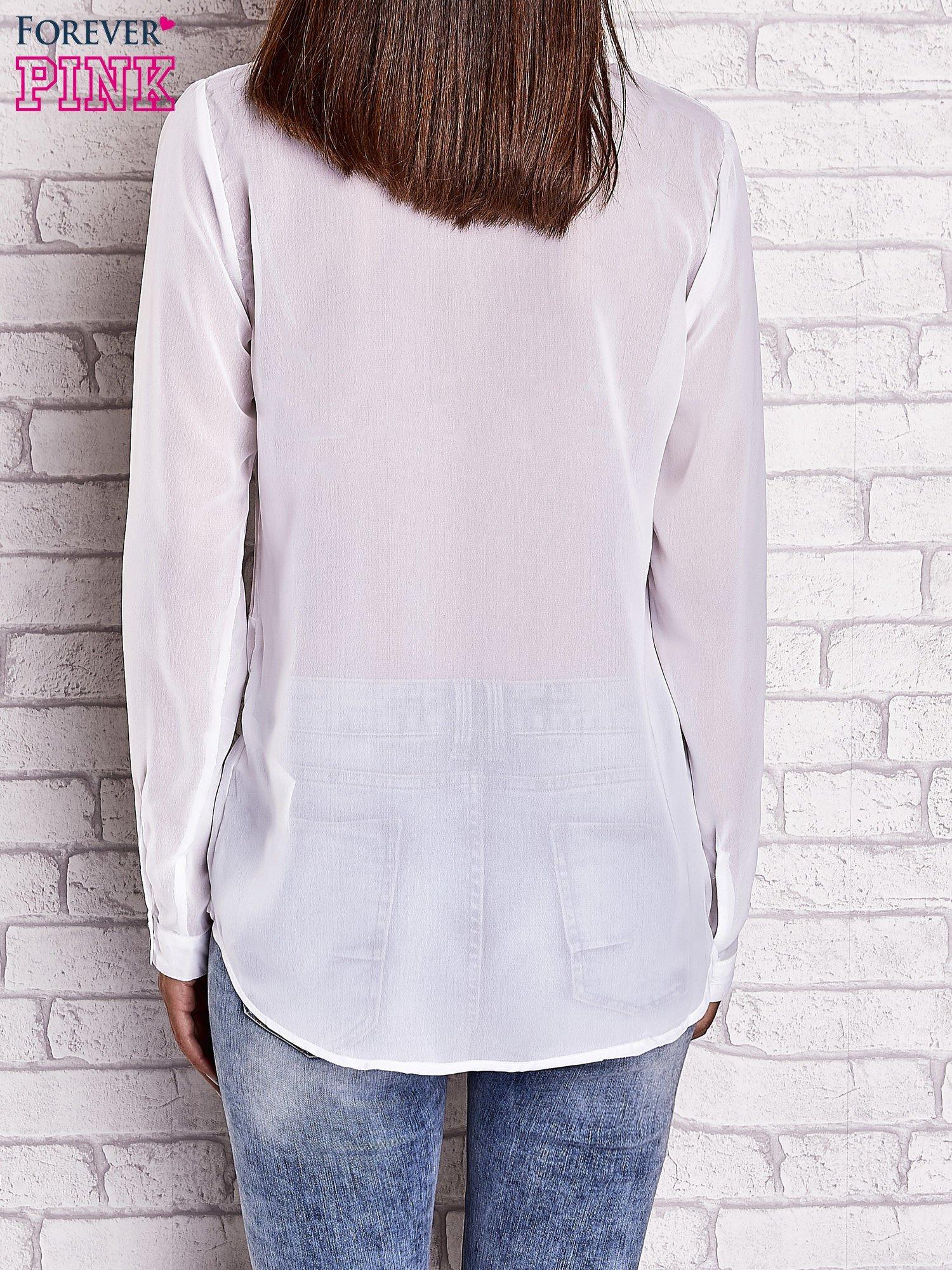 Biała koszula mgiełka z dłuższym tyłem                                  zdj.                                  2
