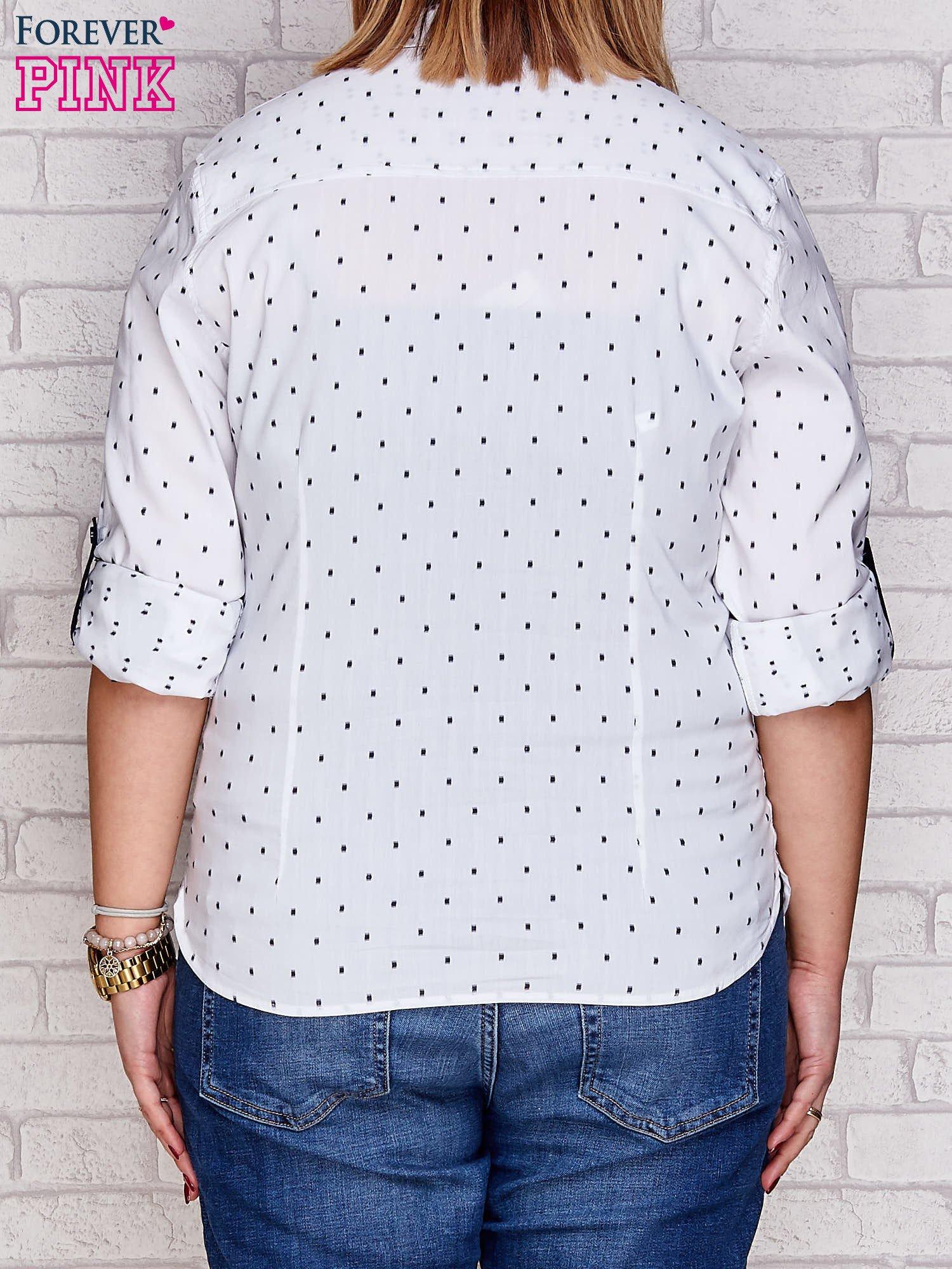 Biała koszula w drobne wzory PLUS SIZE