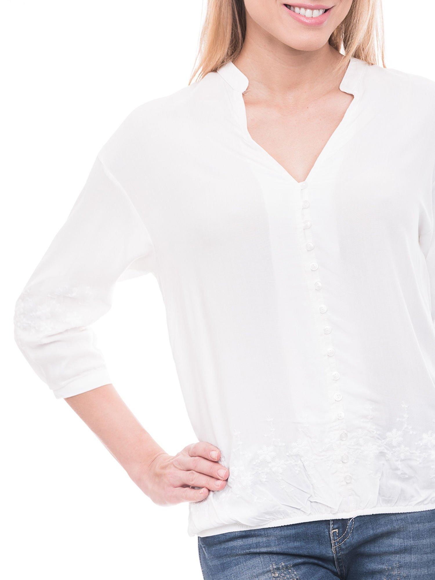 Biała koszula w stylu boho z kwiatowym haftem                                  zdj.                                  5