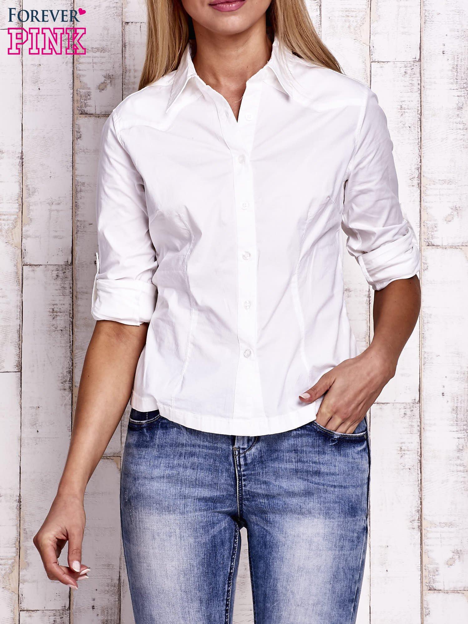 Biała koszula z podwijanymi rękawami                                  zdj.                                  5