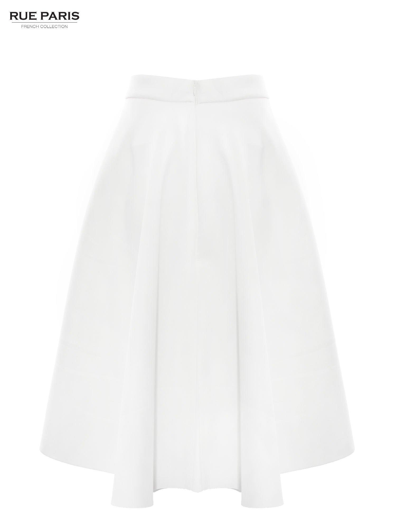 Biała neoprenowa spódnica midi szyta z koła                                  zdj.                                  5