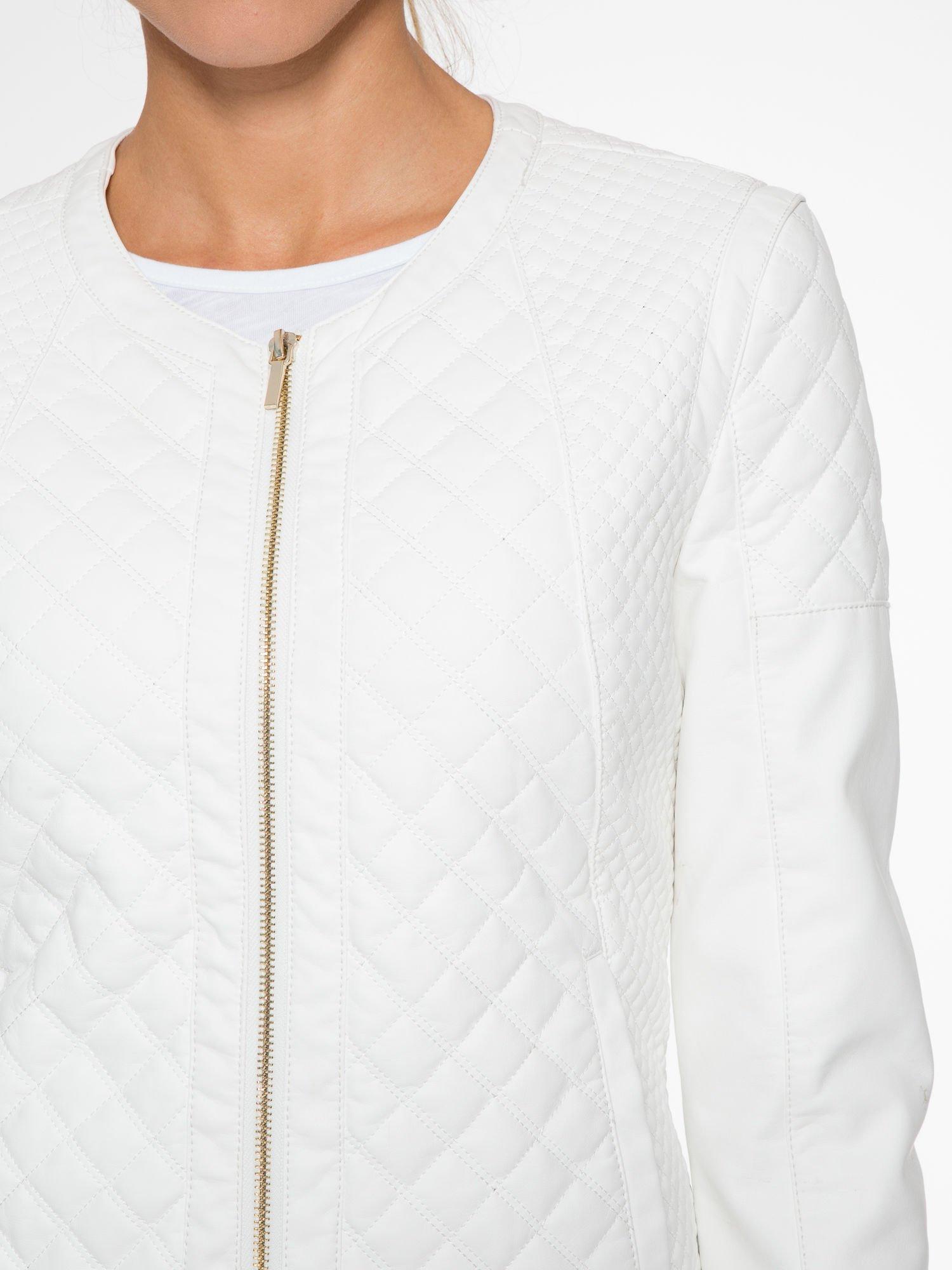 Biała pikowana kurtka ze skóry                                  zdj.                                  6