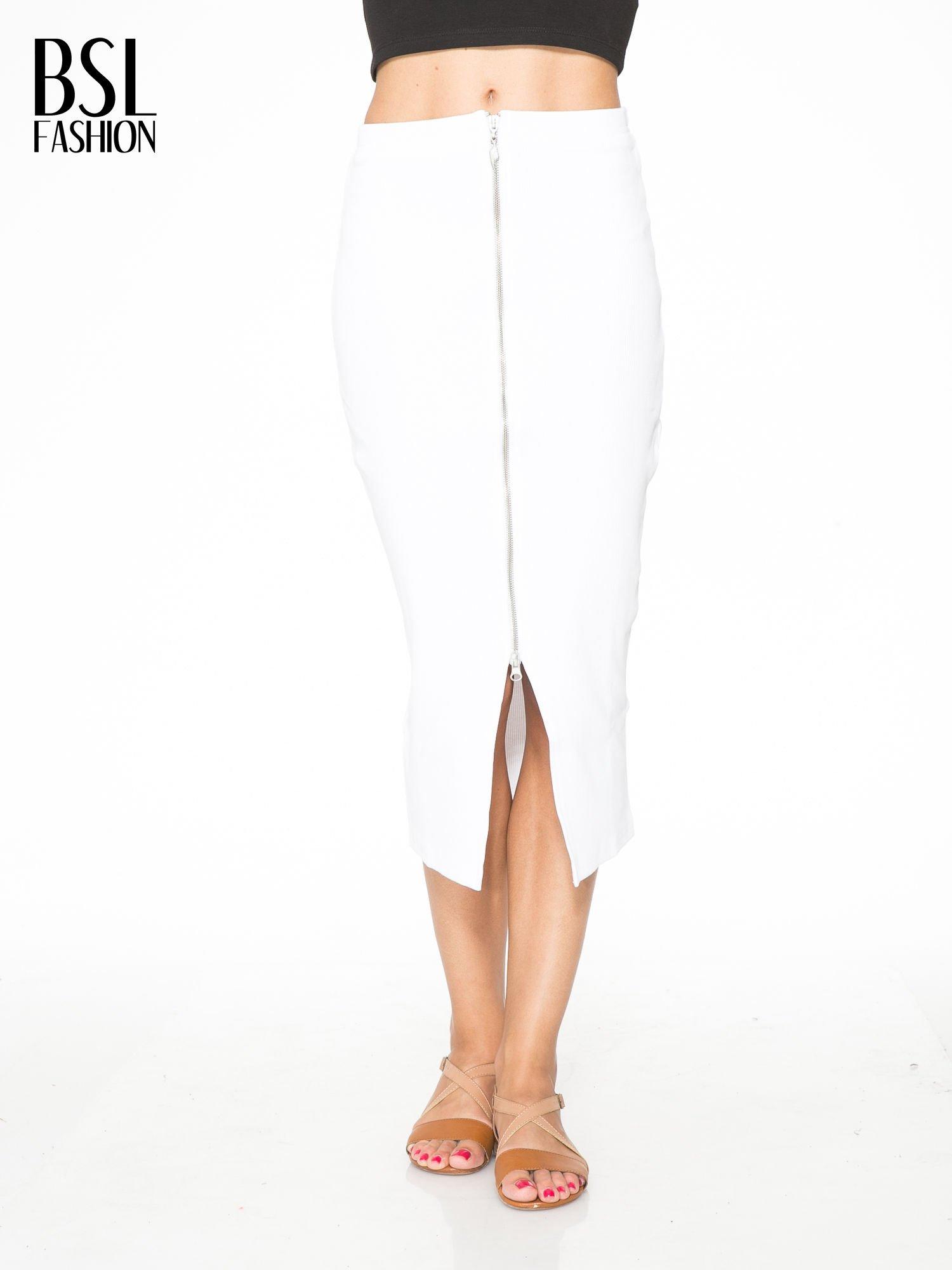 Biała spódnica midi z suwakiem z przodu                                  zdj.                                  1
