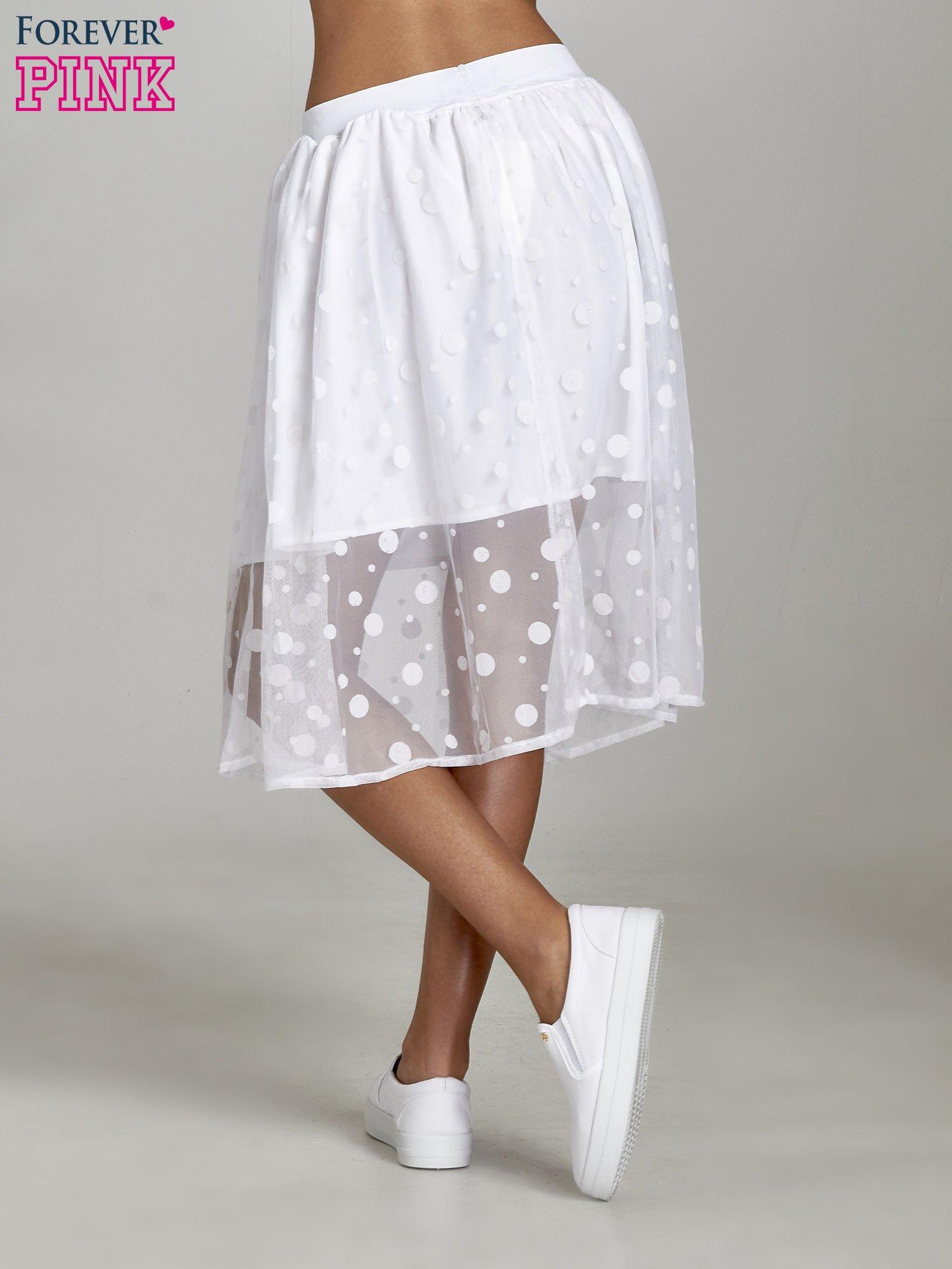 Biała spódnica z tiulową warstwą w groszki                                  zdj.                                  4