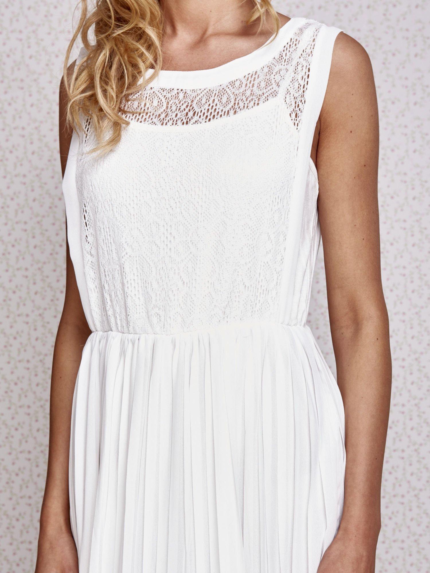 Biała sukienka maxi z koronkowym przodem                                  zdj.                                  5