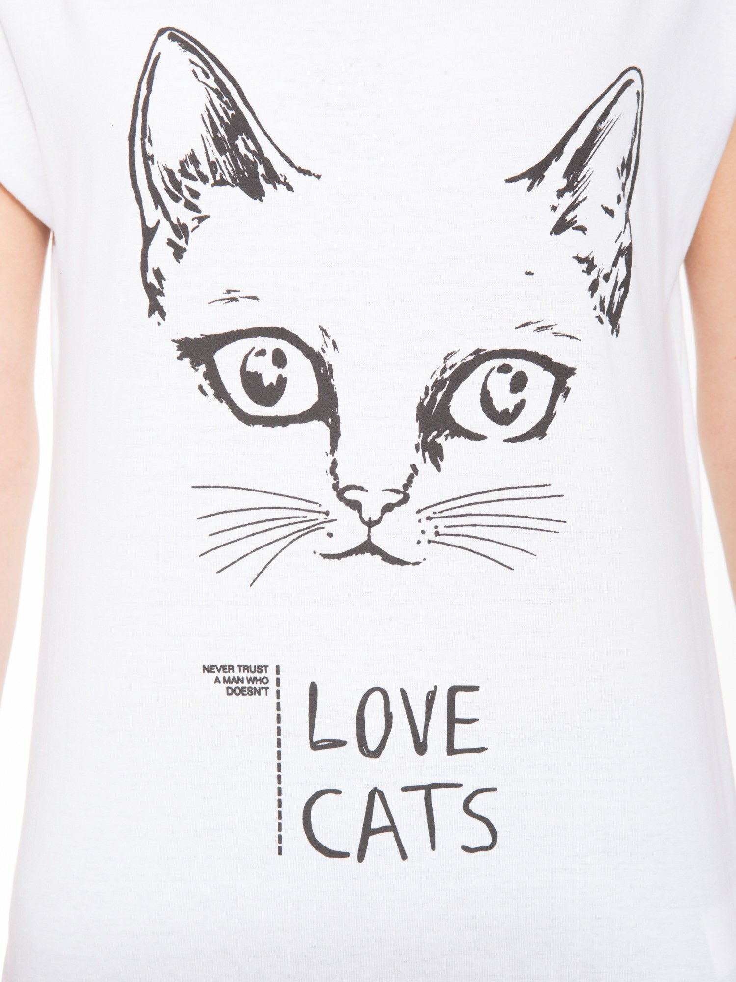 Biała t-shirt z nadrukiem kota i napisem LOVE CATS                                  zdj.                                  5