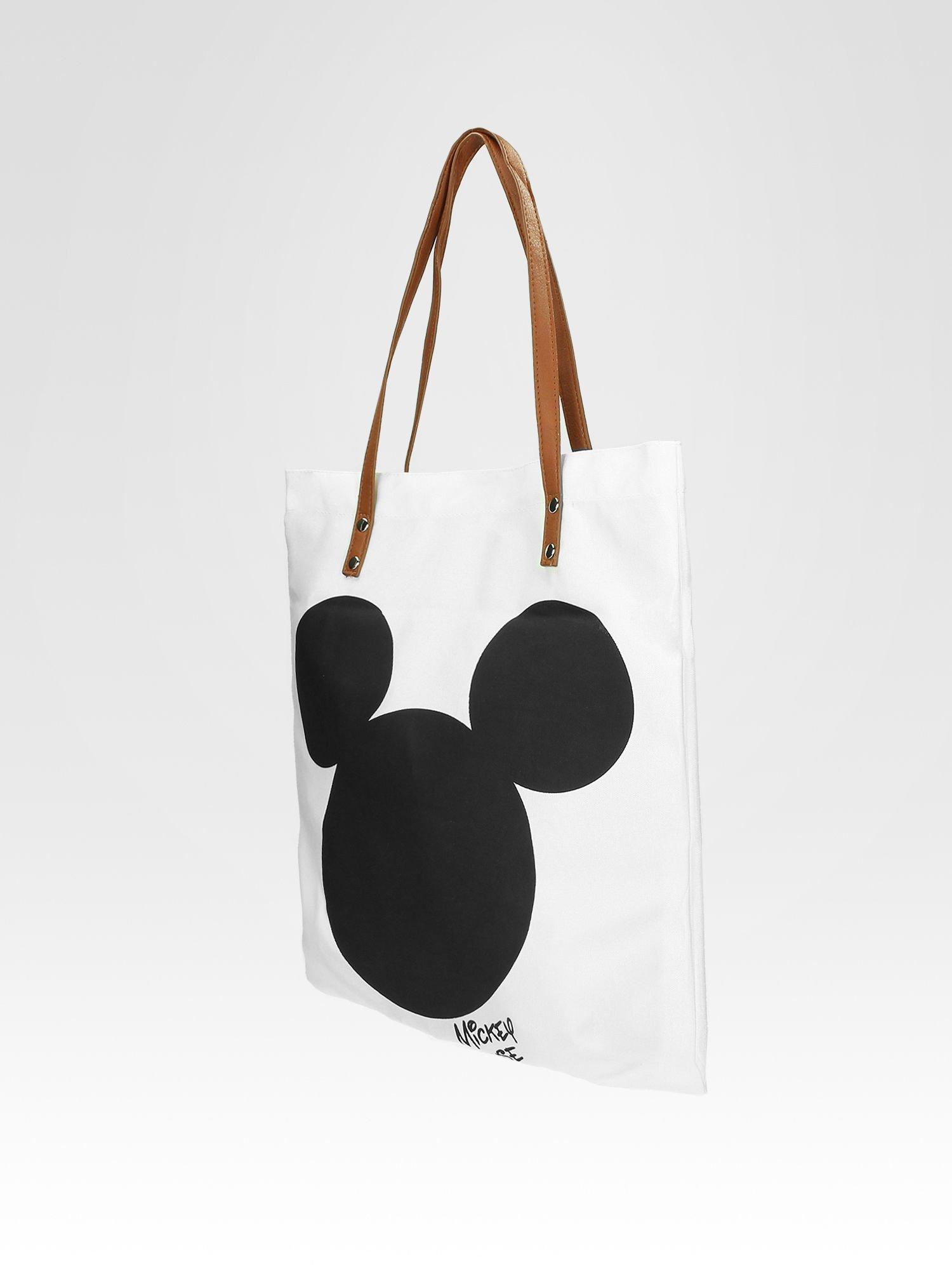 Biała torba shopper bag z motywem Mickey Mouse                                  zdj.                                  8