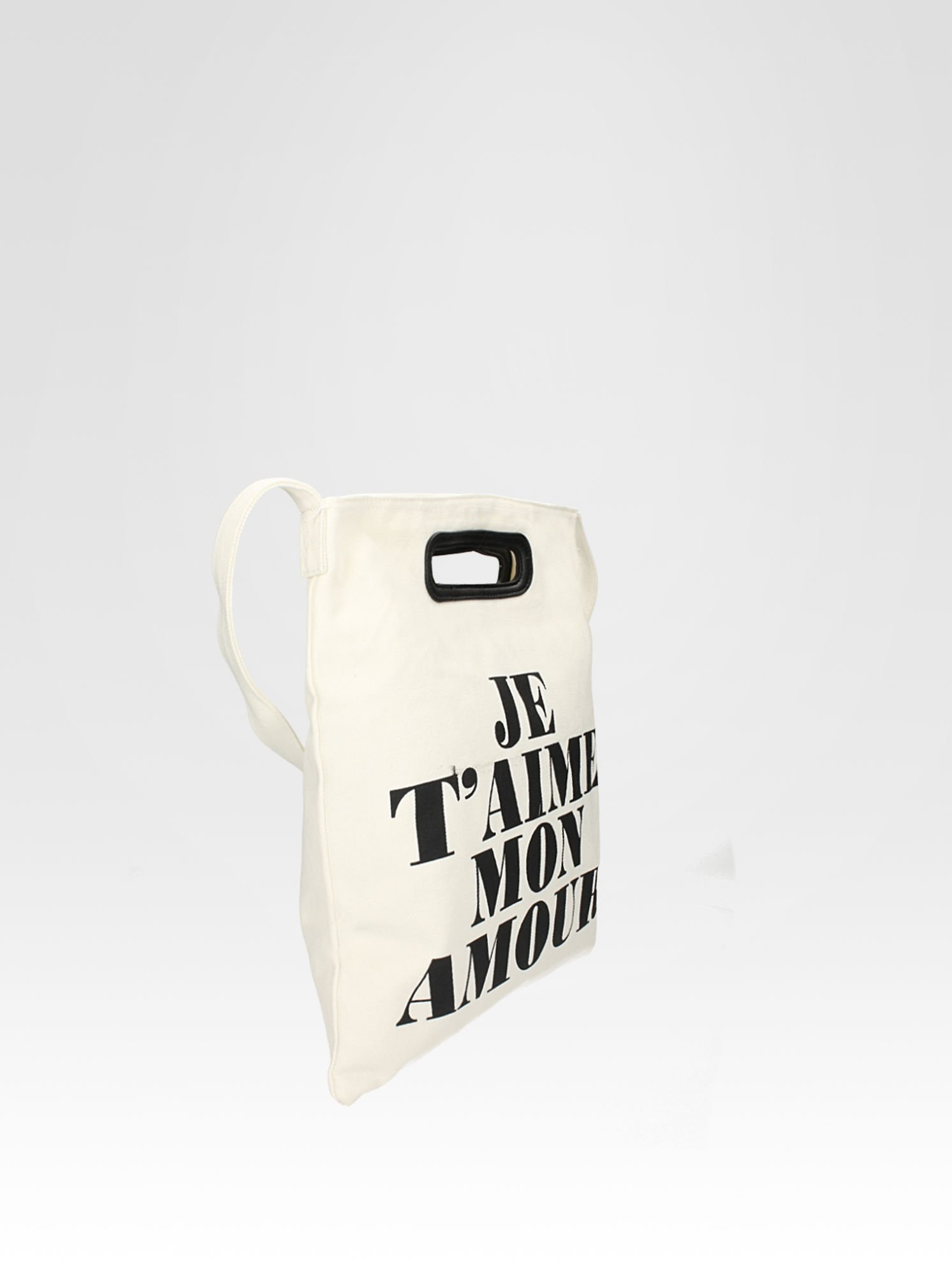Biała torba shopper bag z napisem JE T'AIME MON AMOUR                                  zdj.                                  2
