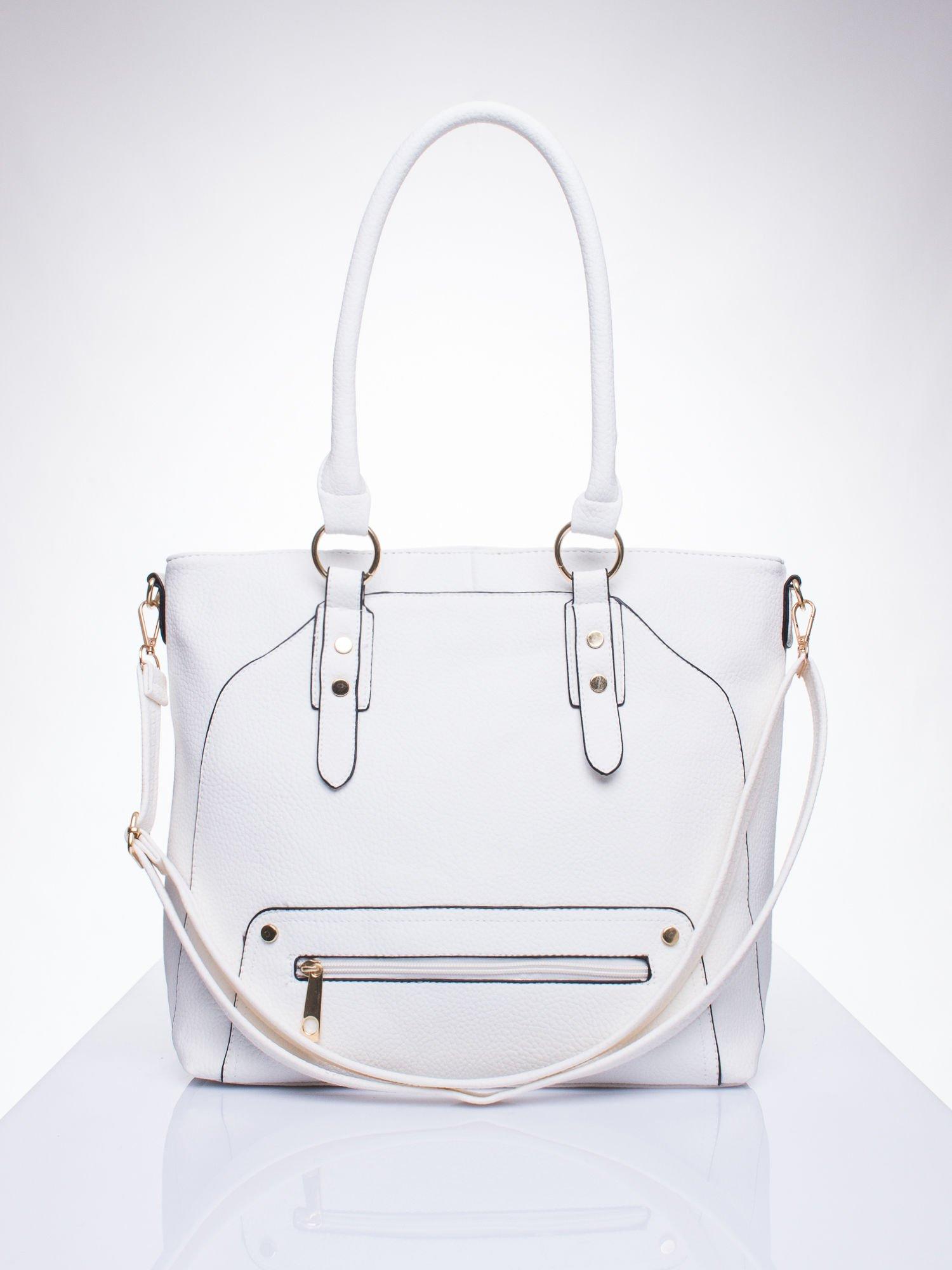 Biała torba shopper bag z suwakiem                                  zdj.                                  1