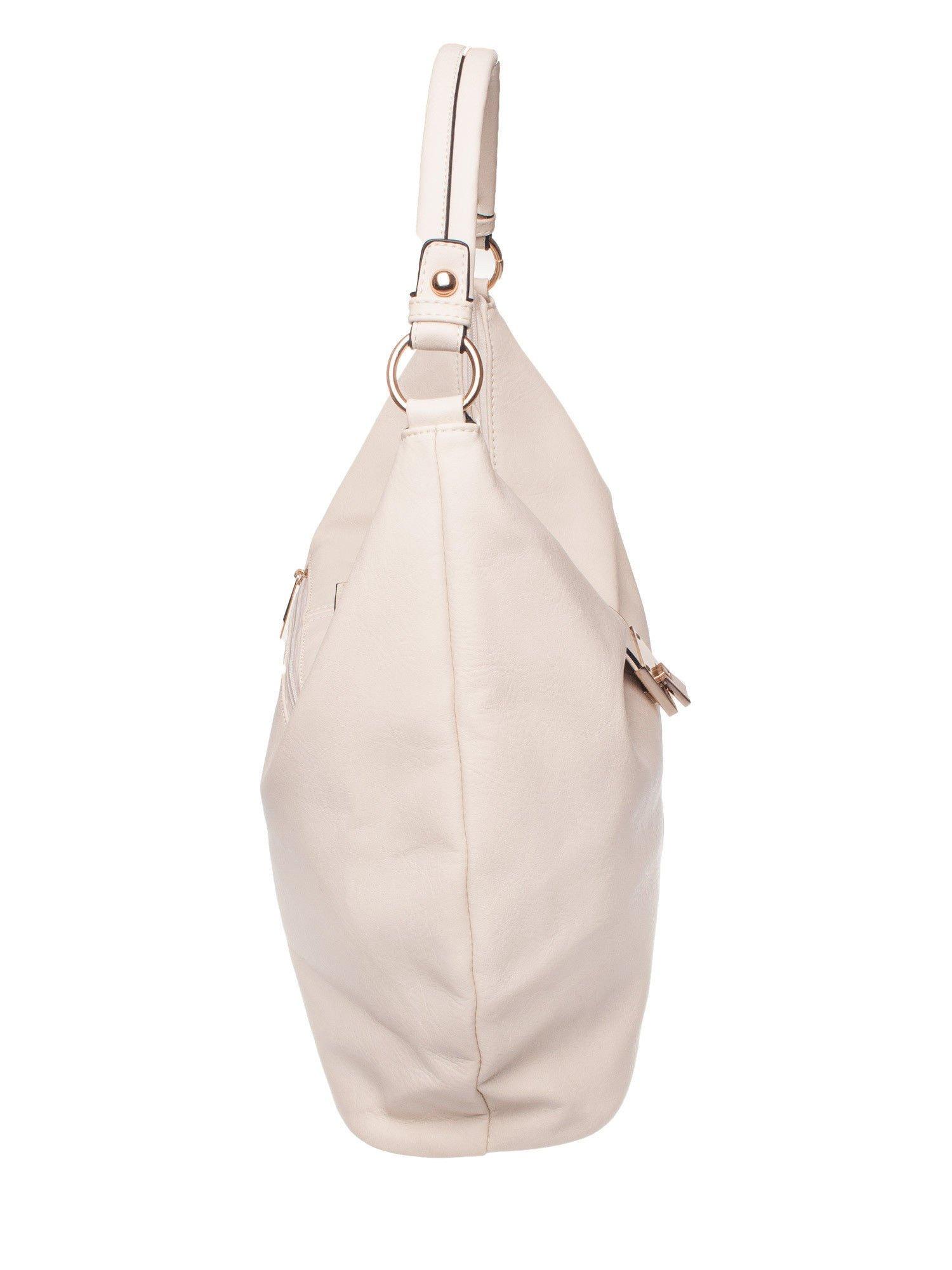 Biała torebka hobo z zapięciem                                  zdj.                                  3
