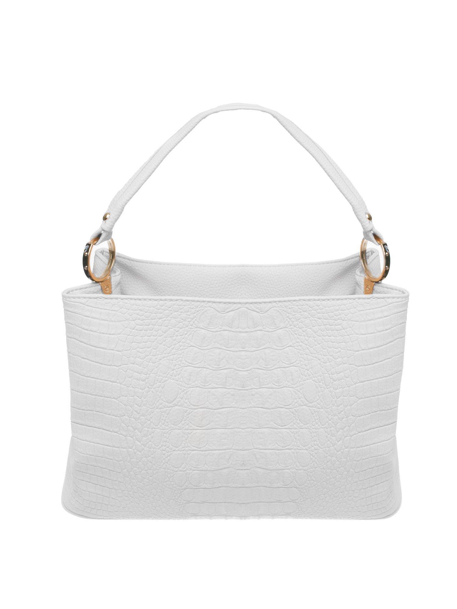 Biała torebka na ramię tłoczona na wzór skóry krokodyla                                  zdj.                                  1