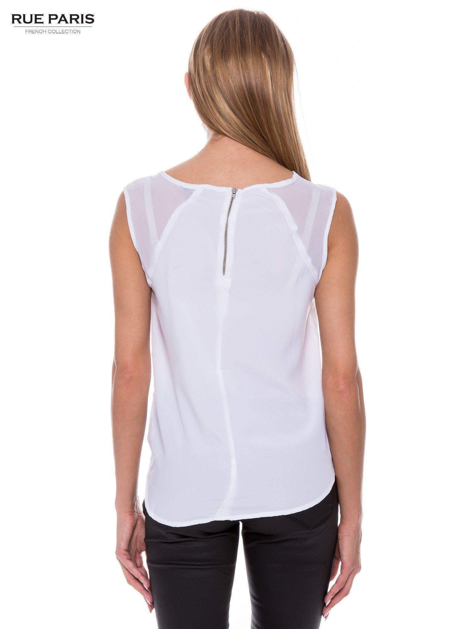Biała zwiewna koszula z dżetami                                  zdj.                                  3