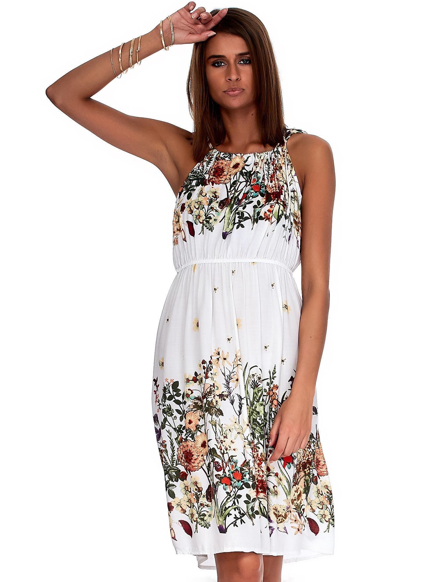 60cd26295f Biała zwiewna sukienka w kolorowe kwiaty - Sukienka one size - sklep ...