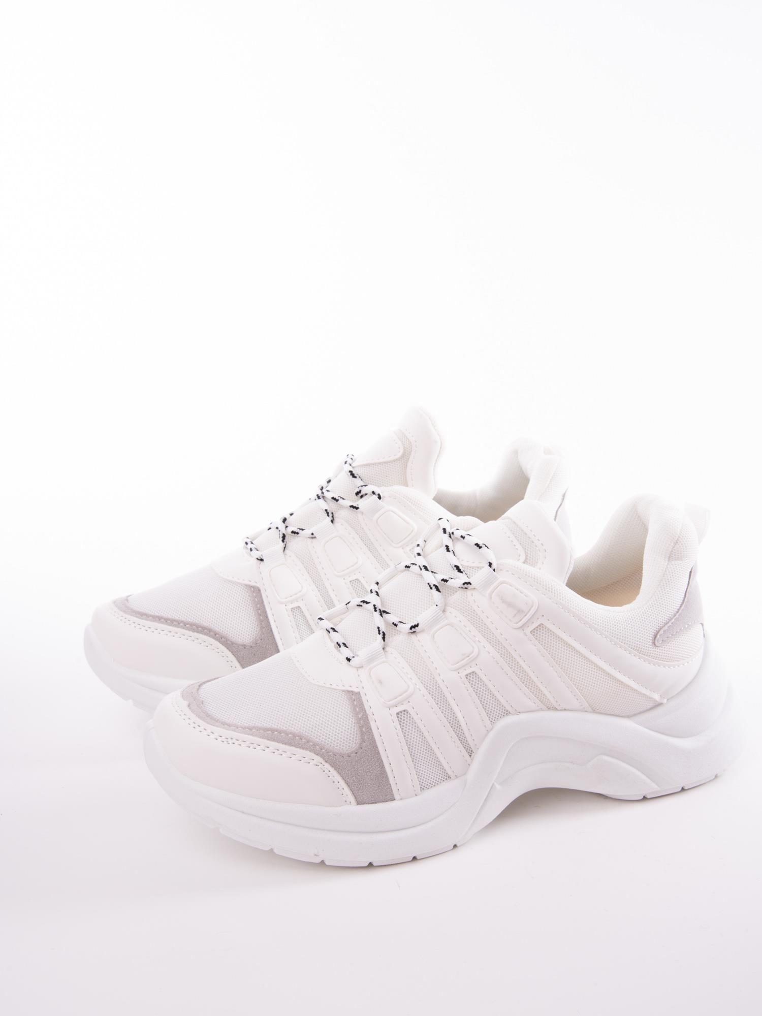 2524809cca0f2 1 · Białe buty sportowe z elastyczną podeszwą wstawkami z ekoskóry i  kolorowymi sznurówkami ...