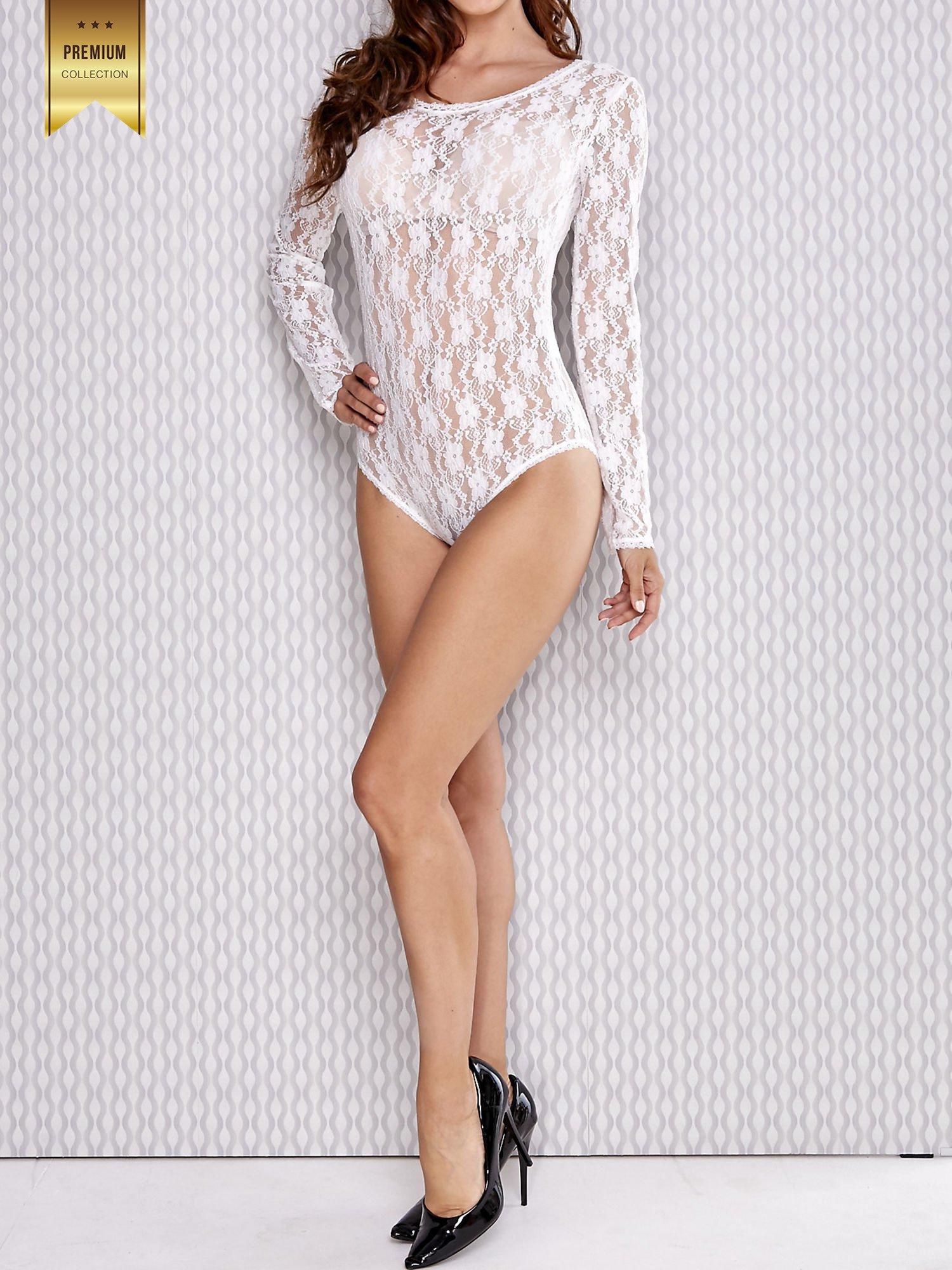 Białe koronkowe body damskie z długim rękawem                                  zdj.                                  4