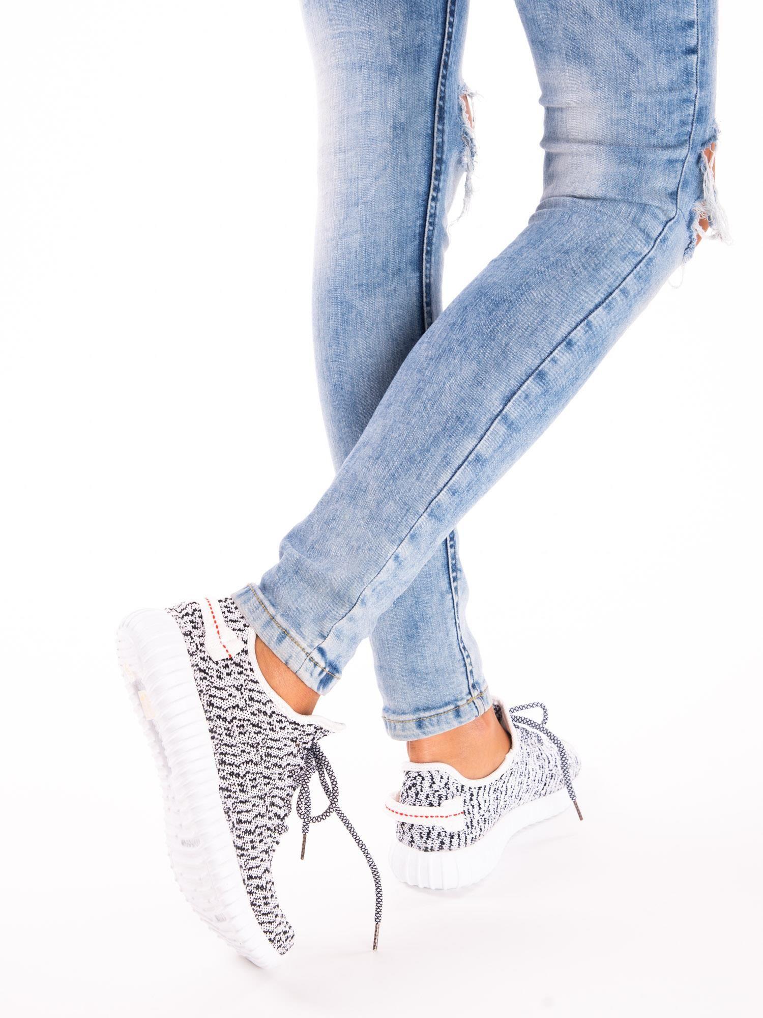 24430038 5; Białe marmurkowe buty sportowe pattern z tkaniny z uchwytem z tyłu ...
