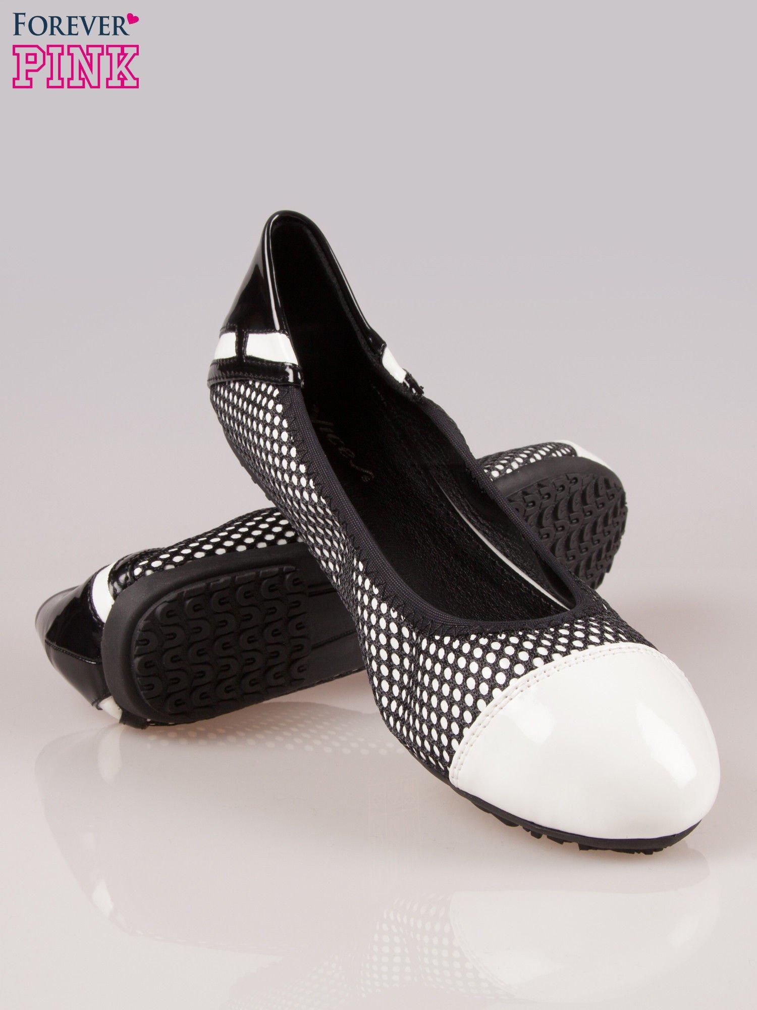 Białe siateczkowe baleriny faux leather Selena na gumkę                                  zdj.                                  4