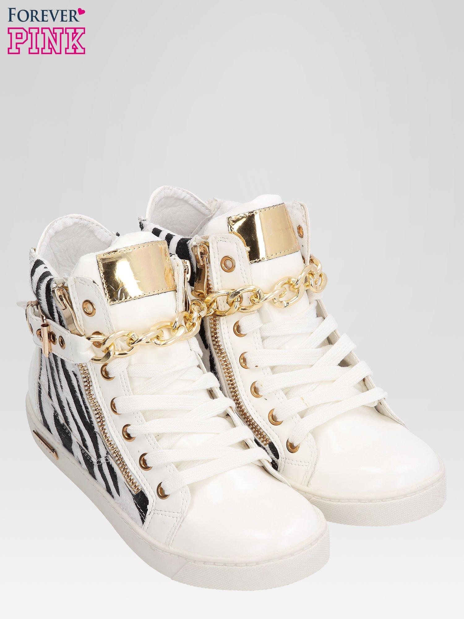 Białe sneakersy damskie z motywem zebry                                  zdj.                                  5