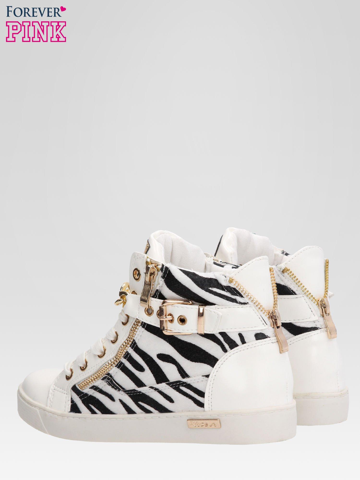 Białe sneakersy damskie z motywem zebry                                  zdj.                                  6