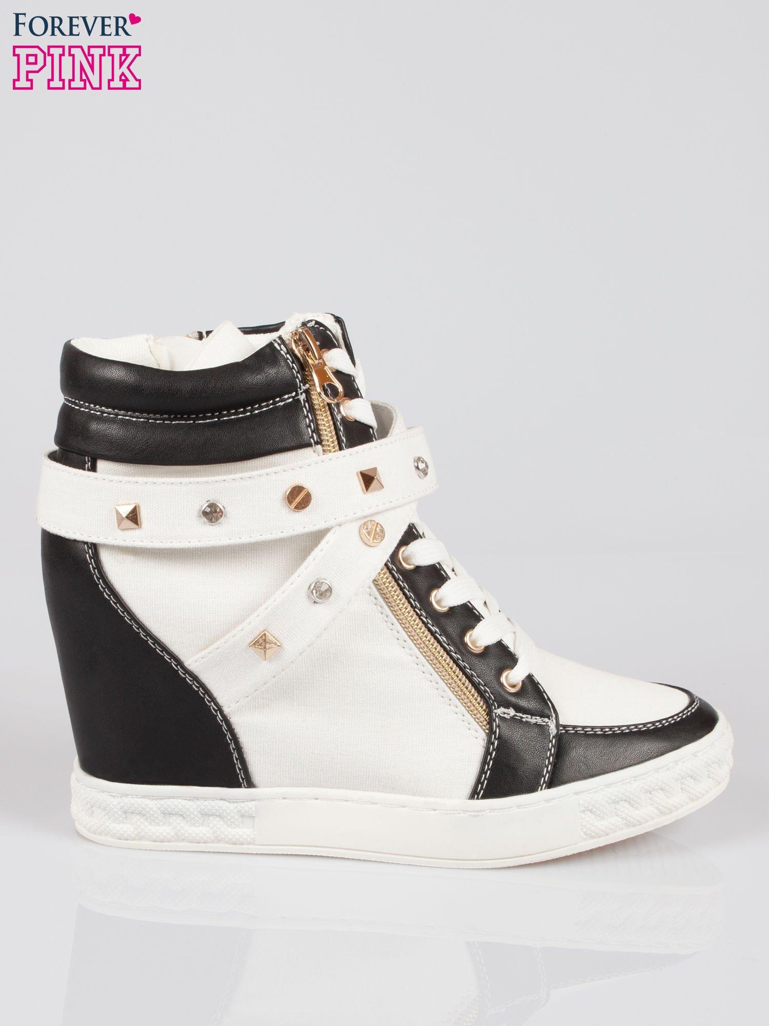 Białe sneakersy z dżetami i suwakiem                                  zdj.                                  1
