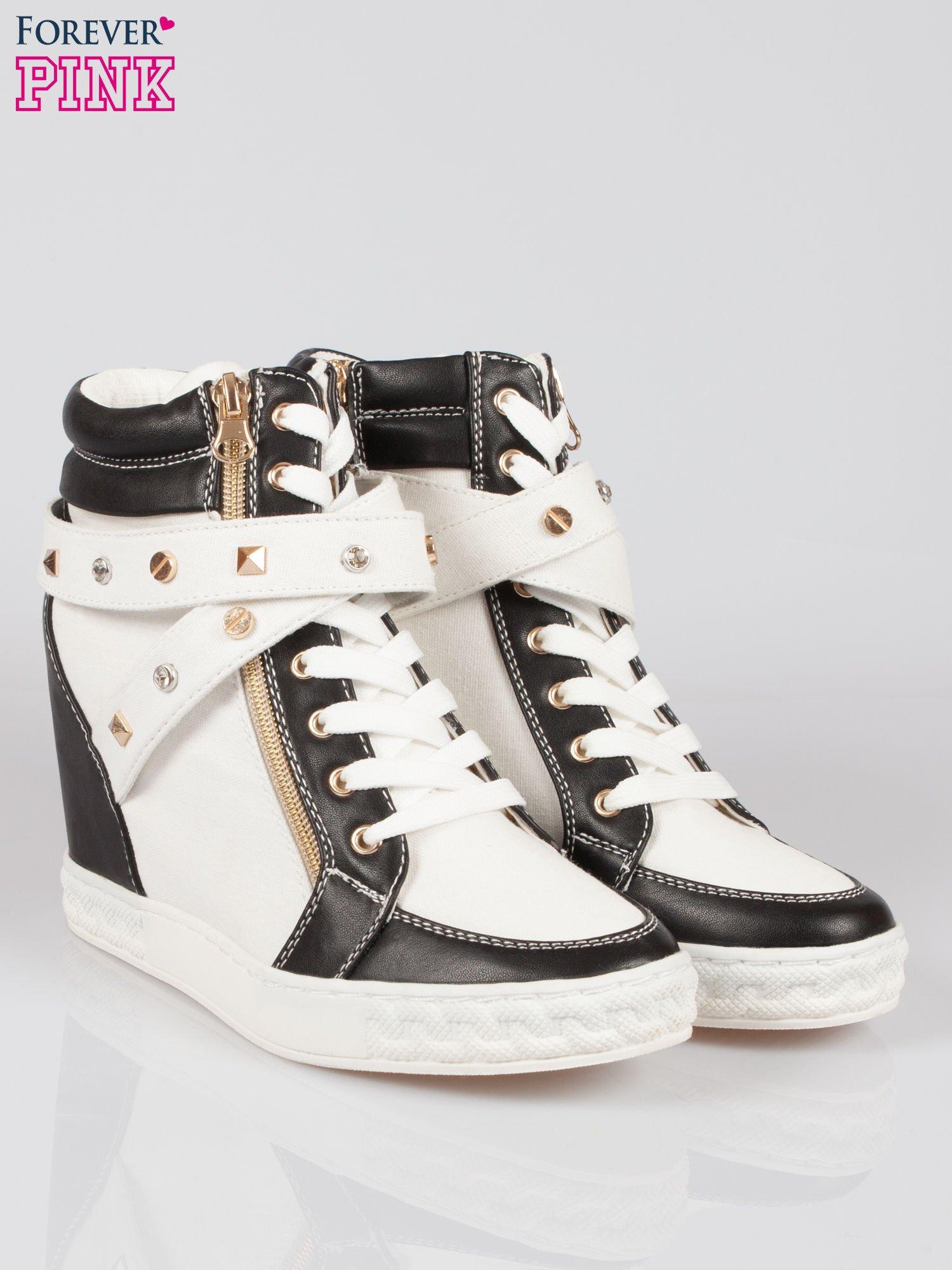 Białe sneakersy z dżetami i suwakiem                                  zdj.                                  2